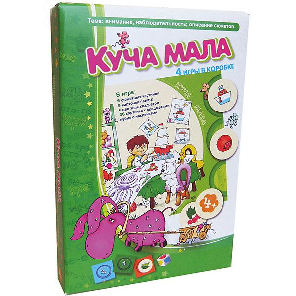 Куча мала, Игротека Татьяны БарчанНастольные игры для всей семьи<br>Куча мала, Игротека Татьяны Барчан.<br><br>Характеристики:<br><br>• Для детей в возрасте: от 4 до 6 лет<br>• В комплекте: 36 круглых карточек с изображением предметов, 9 карточек-палитр, 6 игровых полей с сюжетными картинками, 6 цветных квадратов, деревянный кубик, наклейки с цветными кляксами для кубика, инструкция<br>• Тема: Внимание, наблюдательность, описание сюжетов<br>• Материал: плотный качественный картон<br>• Производитель: ЦОТР Ребус (Россия)<br>• Упаковка: картонная коробка<br>• Размер упаковки: 270х180х40 мм.<br>• Вес: 320 гр.<br><br>В этой коробке вас дожидается не одна, и даже не две игры, а целых четыре игры. В комплект входит: 36 круглых карт с нарисованными на них предметами, кубик с цветными кляксами, игровые поля с сюжетными картинками, карточки-палитры и цветные квадраты. Первая игра - «Команда» способствует развитию внимания, умению выявлять и правильно называть цвета, классифицировать предметы. <br><br>Командная игра «Кто тут?» прекрасно подойдет для тренировки зрительной и ассоциативной памяти. Третья игра - «Палитры» развивает внимание, знакомит с основными и дополнительными цветами. Самая веселая игра - «Найди нас» с веселыми мышатами, которых предстоит найти. Все варианты игр подробно описаны в инструкции. Игра развивает память, наблюдательность, цветовосприятие.<br><br>Игру Куча мала, Игротека Татьяны Барчан можно купить в нашем интернет-магазине.<br><br>Ширина мм: 270<br>Глубина мм: 180<br>Высота мм: 40<br>Вес г: 370<br>Возраст от месяцев: 48<br>Возраст до месяцев: 72<br>Пол: Унисекс<br>Возраст: Детский<br>SKU: 6751323