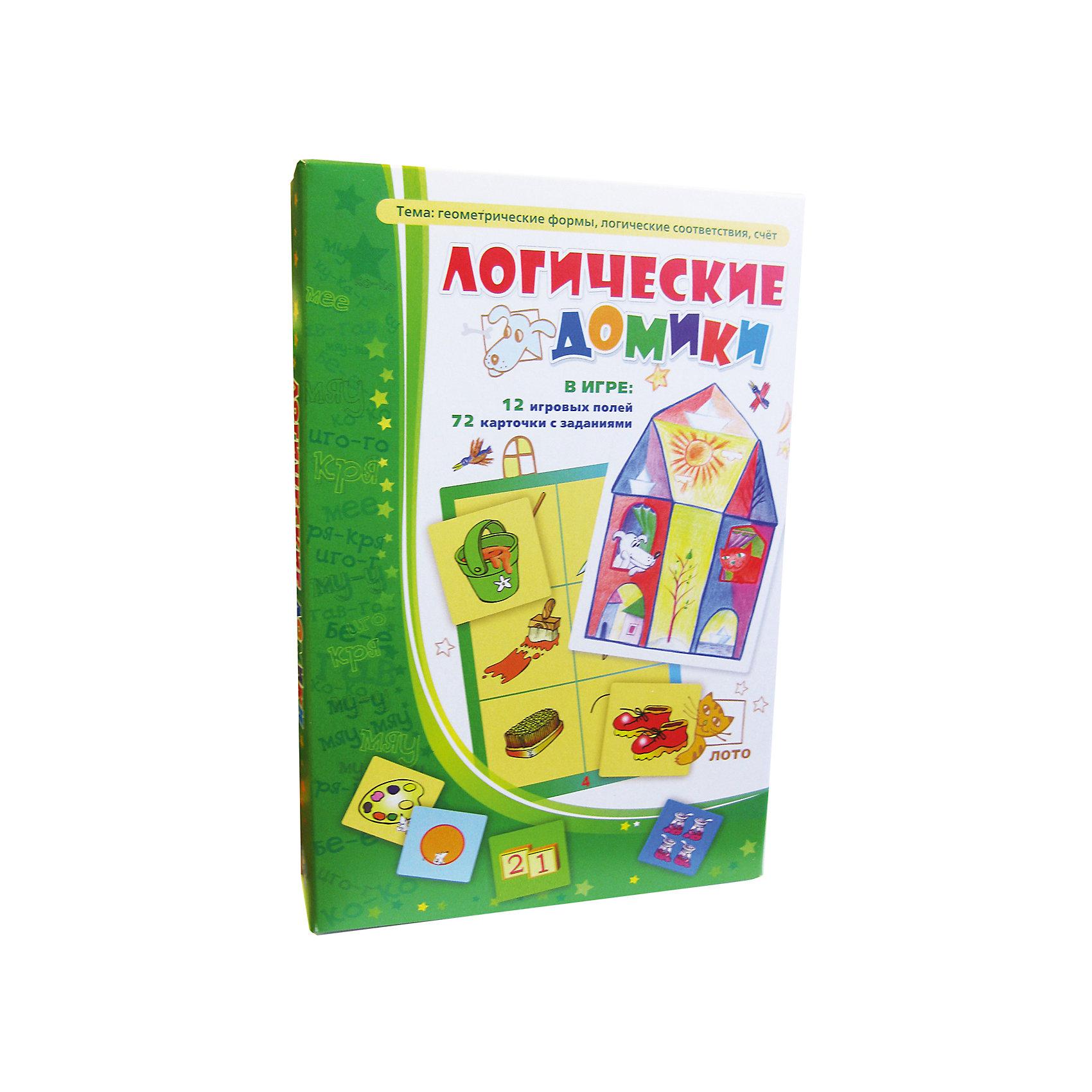 Логические домики, Игротека Татьяны БарчанВикторины и ребусы<br>Логические домики, Игротека Татьяны Барчан.<br><br>Характеристики:<br><br>• Для детей в возрасте: от 3 до 5 лет<br>• В комплекте: 12 больших карточек (игровые поля), 72 карточки с заданиями, инструкция<br>• Тема: Геометрические формы, логические соответствия, счет, времена года<br>• Материал: плотный качественный картон<br>• Производитель: ЦОТР Ребус (Россия)<br>• Упаковка: картонная коробка<br>• Размер упаковки: 270х180х45 мм.<br>• Вес: 315 гр.<br><br>Лото «Логические домики» стало одной из любимых игр малышей от 3-х до 5-ти. Двенадцать карточек – это двенадцать разных заданий. Чтобы их выполнить, маленьким игрокам надо проявить терпение, быть внимательным, научиться решать хитрые задачки, не попасться в ловушки. <br><br>В игре малыши знакомятся с плоскими и объёмными геометрическими фигурами, учатся подбирать логические пары, считать до шести. Маленькие карточки с ответами выкладываются на большой карточке. Мышата, нарисованные на картинках, подскажут, где верх, а где низ у маленькой карточки. Если правильно подобрать 6 карточек на обороте получится симпатичный домик. <br><br>Каждый домик соответствует одному из 12 месяцев. Собрав их все, вы сможете познакомить ребенка со временами года. Лото «Логические домики» было отмечено психологами из «Центра игры и игрушки» специальным знаком «Детские психологи рекомендуют».<br><br>Игру Логические домики, Игротека Татьяны Барчан можно купить в нашем интернет-магазине.<br><br>Ширина мм: 270<br>Глубина мм: 180<br>Высота мм: 40<br>Вес г: 291<br>Возраст от месяцев: 36<br>Возраст до месяцев: 60<br>Пол: Унисекс<br>Возраст: Детский<br>SKU: 6751325