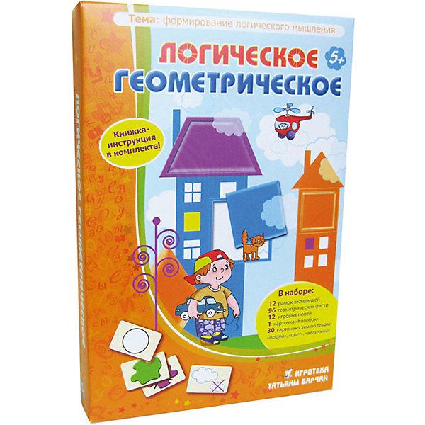 Логическое Геометрическое, Игротека Татьяны БарчанКниги для развития мышления<br>Логическое Геометрическое, Игротека Татьяны Барчан.<br><br>Характеристики:<br><br>• Для детей в возрасте: от 5 до 7 лет<br>• В комплекте: 12 двухсторонних рамок-вкладышей; 96 геометрических фигур; 12  полей для игры в лото; 30 карточек-схем по темам: «форма»- «цвет»- «величина»; карточка «Колобок»; брошюра с описанием заданий<br>• Тема: Формирование логического мышления<br>• Материал: плотный качественный картон<br>• Производитель: ЦОТР Ребус (Россия)<br>• Упаковка: картонная коробка<br>• Размер упаковки: 267х180х40 мм.<br>• Вес: 606 гр.<br><br>В этой коробке – очень большой материал для занятий с малышами от 5-ти лет. Все игры объединяет одно: геометрические фигурки (восемь форм шести цветов). Задания – разные по уровню сложности и темам: от простых рамок-вкладышей до классической игры «найди 9-ю фигурку». <br><br>Все варианты заданий – «творческие мозаики», «логические змейки», четвёртые лишние» и психологические тесты» - описаны в брошюре. Вот некоторые темы игр: геометрические фигуры, творческое моделирование, комбинаторика, выбор по аналогии, закономерности. <br><br>Играть можно одному, вдвоем или целой командой. В процессе игры ребенок научится находить предмет по его признакам, подмечать сходства предметов, находить исключения и закономерности, разовьет зрительную память и внимание.<br><br>Игру Логическое Геометрическое, Игротека Татьяны Барчан можно купить в нашем интернет-магазине.<br>Ширина мм: 270; Глубина мм: 180; Высота мм: 40; Вес г: 600; Возраст от месяцев: 60; Возраст до месяцев: 84; Пол: Унисекс; Возраст: Детский; SKU: 6751326;
