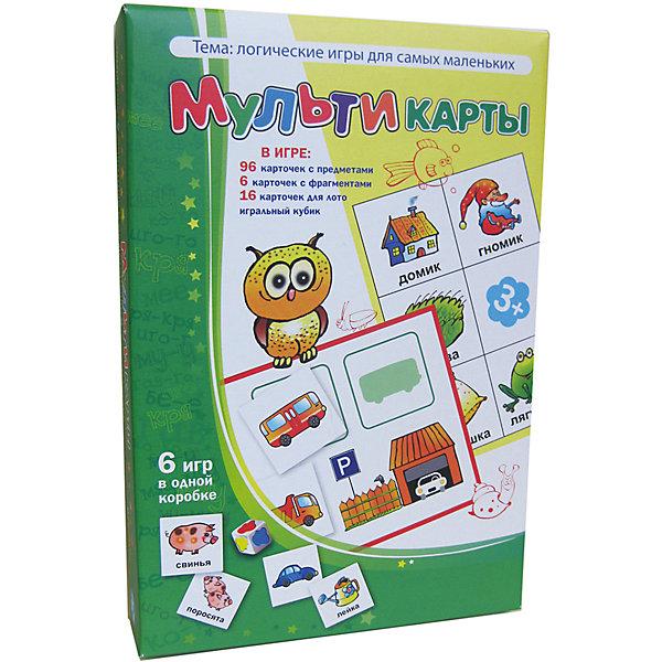 Мультикарты, Игротека Татьяны БарчанЛото<br>Мультикарты, Игротека Татьяны Барчан.<br><br>Характеристики:<br><br>• Для детей в возрасте: от 3 до 5 лет<br>• В комплекте: 96 карточек 4-х цветов с изображениями предметов, 6 синих карточек для игры в лото «Хвостики и носики», 8 красных карточек с «гаражами» для игры лото «Стоянка машин», 8 жёлтых карточек для игры в рифмы, игральный кубик, наклейки для кубика, инструкция<br>• Тема: Логические игры для самых маленьких<br>• Материал: плотный качественный картон<br>• Производитель: ЦОТР Ребус (Россия)<br>• Упаковка: картонная коробка<br>• Размер упаковки: 268х182х42 мм.<br>• Вес: 362 гр.<br><br>Эта игра недаром называется «Мульти...»  Она очень нравится малышам! Основной игровой материал большой: 96 карточек с изображениями предметов, животных, машинок. Есть деревянный кубик и наклейки для него («кляксы» жёлтого, синего, красного и зелёного цвета). И ещё в игре – 22 карточки для игры в три лото. <br><br>Малыш будет играть и учиться одновременно: цвет, форма, сравнение, нахождение предмета по двум признакам, животные и их детёныши, «прятки»- «мемори» и даже подбор рифмующихся слов – всё трудные темы предложены в понятной и доступной для малышей форме. Варианты заданий могут усложняться. Игра Мультикарты станет первой логической настольной игрой для вашего малыша.<br><br>Игру Мультикарты, Игротека Татьяны Барчан можно купить в нашем интернет-магазине.<br>Ширина мм: 270; Глубина мм: 180; Высота мм: 40; Вес г: 362; Возраст от месяцев: 36; Возраст до месяцев: 60; Пол: Унисекс; Возраст: Детский; SKU: 6751331;