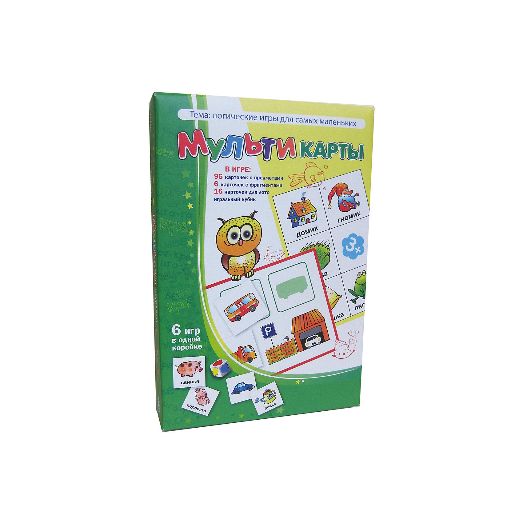 Мультикарты, Игротека Татьяны БарчанЛото<br>Мультикарты, Игротека Татьяны Барчан.<br><br>Характеристики:<br><br>• Для детей в возрасте: от 3 до 5 лет<br>• В комплекте: 96 карточек 4-х цветов с изображениями предметов, 6 синих карточек для игры в лото «Хвостики и носики», 8 красных карточек с «гаражами» для игры лото «Стоянка машин», 8 жёлтых карточек для игры в рифмы, игральный кубик, наклейки для кубика, инструкция<br>• Тема: Логические игры для самых маленьких<br>• Материал: плотный качественный картон<br>• Производитель: ЦОТР Ребус (Россия)<br>• Упаковка: картонная коробка<br>• Размер упаковки: 268х182х42 мм.<br>• Вес: 362 гр.<br><br>Эта игра недаром называется «Мульти...»  Она очень нравится малышам! Основной игровой материал большой: 96 карточек с изображениями предметов, животных, машинок. Есть деревянный кубик и наклейки для него («кляксы» жёлтого, синего, красного и зелёного цвета). И ещё в игре – 22 карточки для игры в три лото. <br><br>Малыш будет играть и учиться одновременно: цвет, форма, сравнение, нахождение предмета по двум признакам, животные и их детёныши, «прятки»- «мемори» и даже подбор рифмующихся слов – всё трудные темы предложены в понятной и доступной для малышей форме. Варианты заданий могут усложняться. Игра Мультикарты станет первой логической настольной игрой для вашего малыша.<br><br>Игру Мультикарты, Игротека Татьяны Барчан можно купить в нашем интернет-магазине.<br><br>Ширина мм: 270<br>Глубина мм: 180<br>Высота мм: 40<br>Вес г: 362<br>Возраст от месяцев: 36<br>Возраст до месяцев: 60<br>Пол: Унисекс<br>Возраст: Детский<br>SKU: 6751331