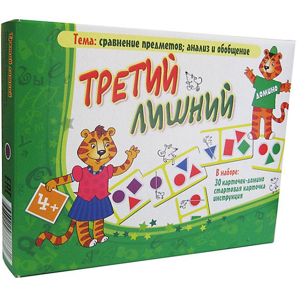 Третий лишний, Игротека Татьяны БарчанОбучающие карточки<br>Третий лишний, Игротека Татьяны Барчан.<br><br>Характеристики:<br><br>• Для детей в возрасте: от 4 до 6 лет<br>• В комплекте: стартовая карточка, 30 карточек-домино, подробная инструкция<br>• Обучение: Сравнение предметов, анализ, обобщение<br>• Материал: плотный качественный картон<br>• Производитель: ЦОТР Ребус (Россия)<br>• Упаковка: картонная коробка<br>• Размер упаковки: 138х180х40 мм.<br>• Вес: 144 гр.<br><br>Игра-домино Третий лишний - это яркие, понятные, но серьёзные задания для юных интеллектуалов. В игре отрабатывается принцип нахождения «лишнего» предмета. Его надо выбрать из трёх фигурок на каждой карточке. Не только выбрать, но и объяснить, чем отличается фигурка от остальных. В каждом случае есть два решения: выбирать «лишнюю» фигурку по цвету или по форме. <br><br>В начале игры ведущий раздает участникам по 6-7 маленьких карточек, которые выкладываются таким образом, чтобы мышки с перечеркнутыми фигурками были выстроены в ряд. Остальные карточки отправляются в базар, необходимый для пополнения запасов во время игры, за исключением стартовой карточки, которая выкладывается на стол первой. <br><br>Задача игроков определить, какая фигурка в группе является лишней, и присоединить свою карточку к хвостику доминошной змейки. Тот, кто первым избавляется от всех карточек и становится победителем игры. Игра научит малышей решать логические задачи, обосновывать свой ответ, рассуждать и анализировать.<br><br>Игру Третий лишний, Игротека Татьяны Барчан можно купить в нашем интернет-магазине.<br>Ширина мм: 180; Глубина мм: 135; Высота мм: 40; Вес г: 155; Возраст от месяцев: 48; Возраст до месяцев: 72; Пол: Унисекс; Возраст: Детский; SKU: 6751373;