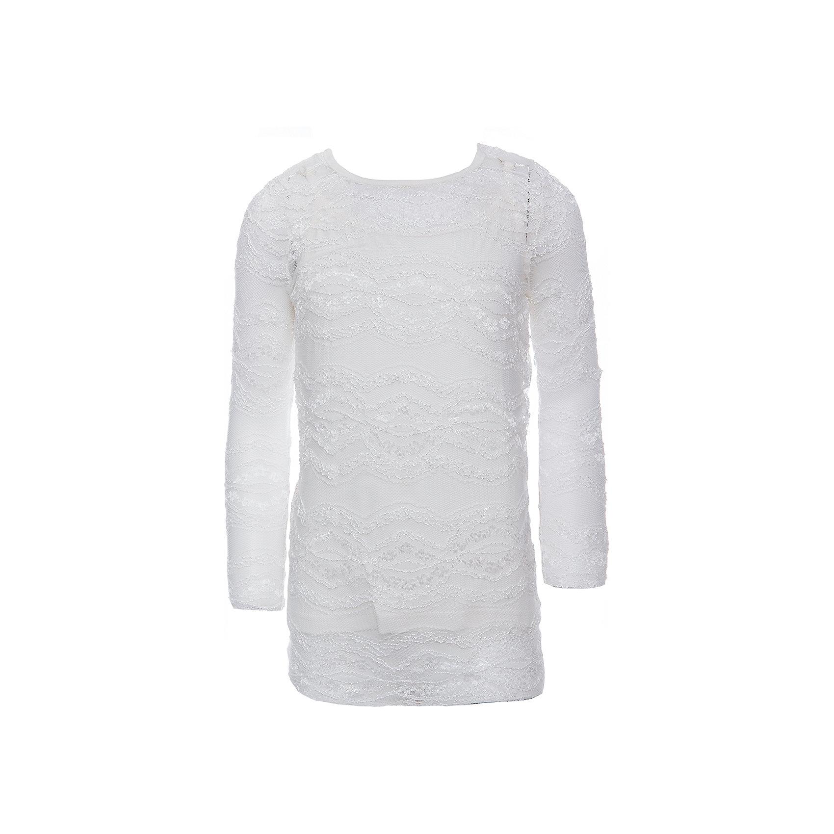 Блузка для девочки ScoolБлузки и рубашки<br>Блузка для девочки Scool<br>Трикотажная блузка.<br><br>Модель состоит из двух изделий: топа и футболки с длинными рукавами. Верхний слой выполнен из ажурного эластичного гипюра, нижний – из мягкого хлопка. Застегивается на пуговицу на спине.<br>Состав:<br>Верх: 100% полиамид, подкладка: 95% хлопок, 5% эластан<br><br>Ширина мм: 186<br>Глубина мм: 87<br>Высота мм: 198<br>Вес г: 197<br>Цвет: белый<br>Возраст от месяцев: 156<br>Возраст до месяцев: 168<br>Пол: Женский<br>Возраст: Детский<br>Размер: 164,122,128,134,140,146,152,158<br>SKU: 6754333