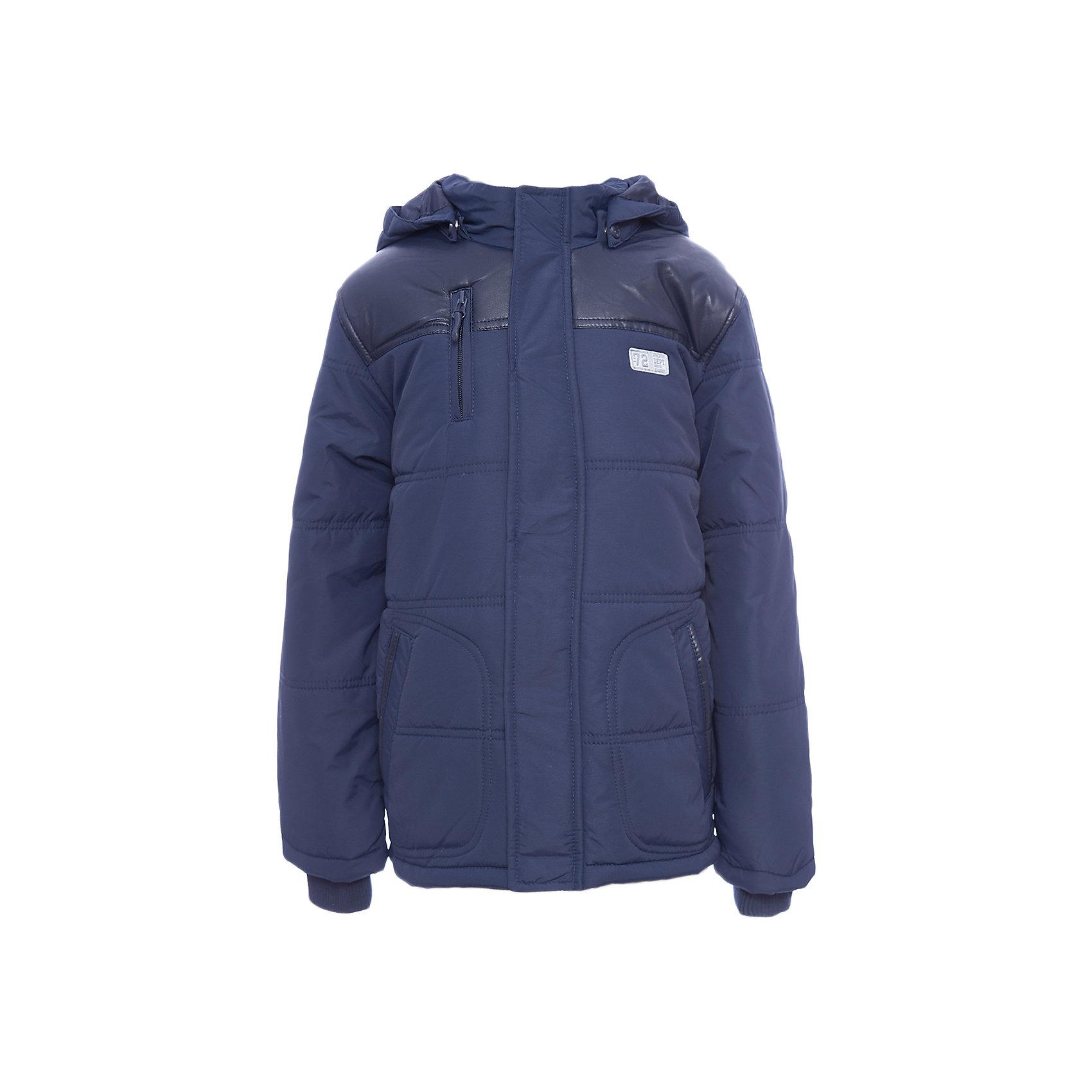 Куртка для мальчика ScoolВерхняя одежда<br>Куртка для мальчика Scool<br>Практичная утепленная стеганая куртка с капюшоном из ткани со специальной водоотталкивающей пропиткой защитит ребенка в любую погоду! Высокий воротник из мягкого трикотажа. Плечи и окантовка карманов декорированы вставкой из искусственной кожи в цвет куртки. Рукава с мягкими трикотажными манжетами для дополнительного сохранения тепла. Капюшон закреплен на удобных застежках - кнопках, дополнительно снабжен мягкими резинками  - даже в активной игре капюшон не упадет с головы ребенка.Преимущества: Ткань с водоотталкивающей пропиткойСветоотражающие элементы на рукаве и по низу изделияВысокий воротник и манжеты из мягкой трикотажной ткани<br>Состав:<br>Верх: 100% нейлон, подкладка: 100% полиэстер, наполнитель: 100% полиэстер, 250 г/м2<br><br>Ширина мм: 356<br>Глубина мм: 10<br>Высота мм: 245<br>Вес г: 519<br>Цвет: темно-синий<br>Возраст от месяцев: 156<br>Возраст до месяцев: 168<br>Пол: Мужской<br>Возраст: Детский<br>Размер: 164,128,134,140,146,152,158<br>SKU: 6754348