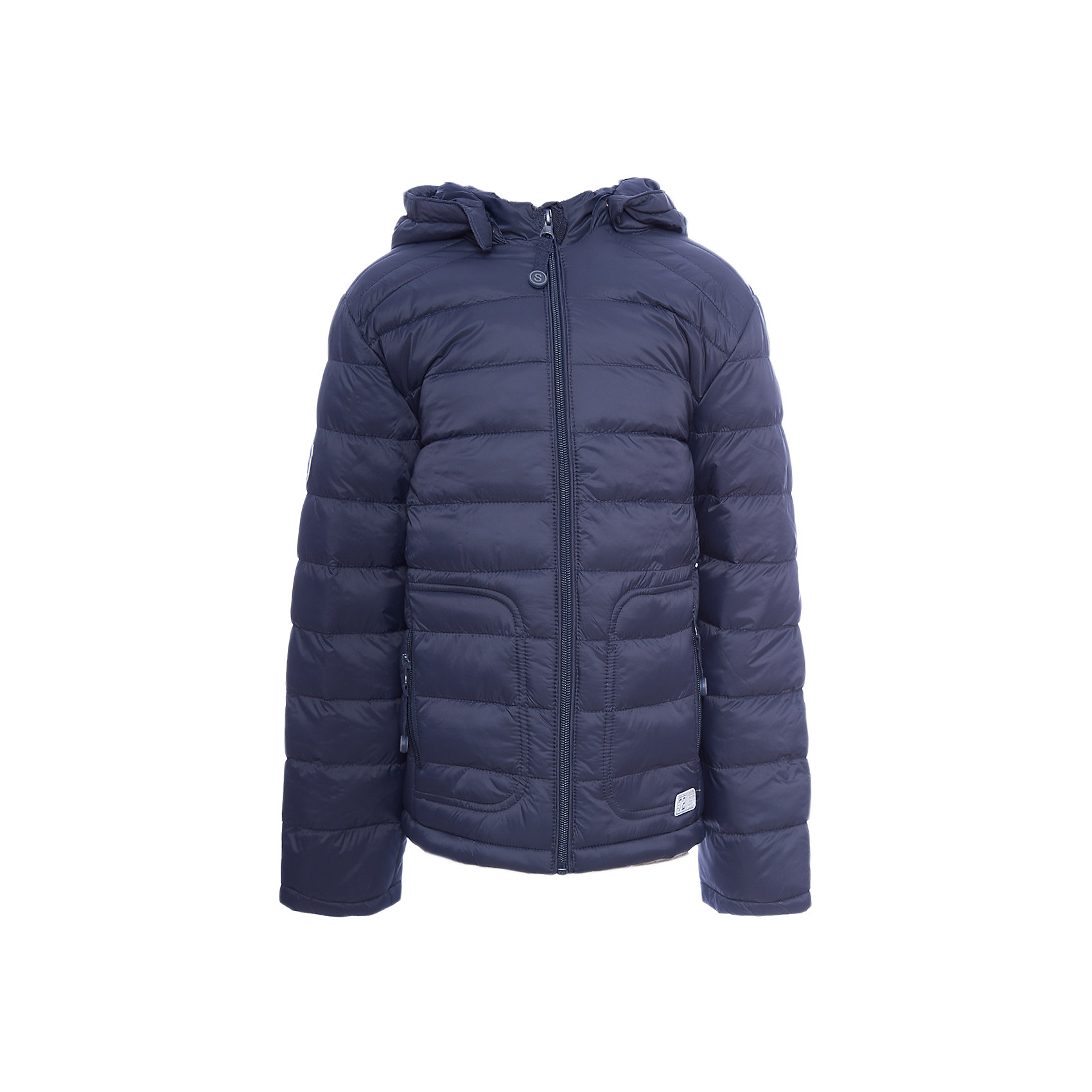 Куртка для мальчика ScoolВерхняя одежда<br>Куртка для мальчика Scool<br>Практичная утепленная куртка с капюшоном из ткани со специальной водоотталкивающей пропиткой защитит ребенка в любую погоду! Капюшон закреплен на удобных застежках - кнопках, дополнительно снабжен мягкими резинками - даже в активной игре капюшон не упадет с головы ребенка. Специальный карман для фиксации бегунка на молнии не позволит застежке травмировать нежную детскую кожу.Преимущества: Ткань с водоотталкивающей пропиткойЗащита подбородка. Специальный карман для фиксации бегунка на молнии не позволит застежке травмировать нежную детскую кожуСветоотражающие элементы на рукаве и по низу изделия<br>Состав:<br>Верх: 100% нейлон, подкладка: 100% полиэстер, наполнитель: 100% полиэстер, 100 г/м2<br><br>Ширина мм: 356<br>Глубина мм: 10<br>Высота мм: 245<br>Вес г: 519<br>Цвет: полуночно-синий<br>Возраст от месяцев: 156<br>Возраст до месяцев: 168<br>Пол: Мужской<br>Возраст: Детский<br>Размер: 164,128,134,140,146,152,158<br>SKU: 6754364