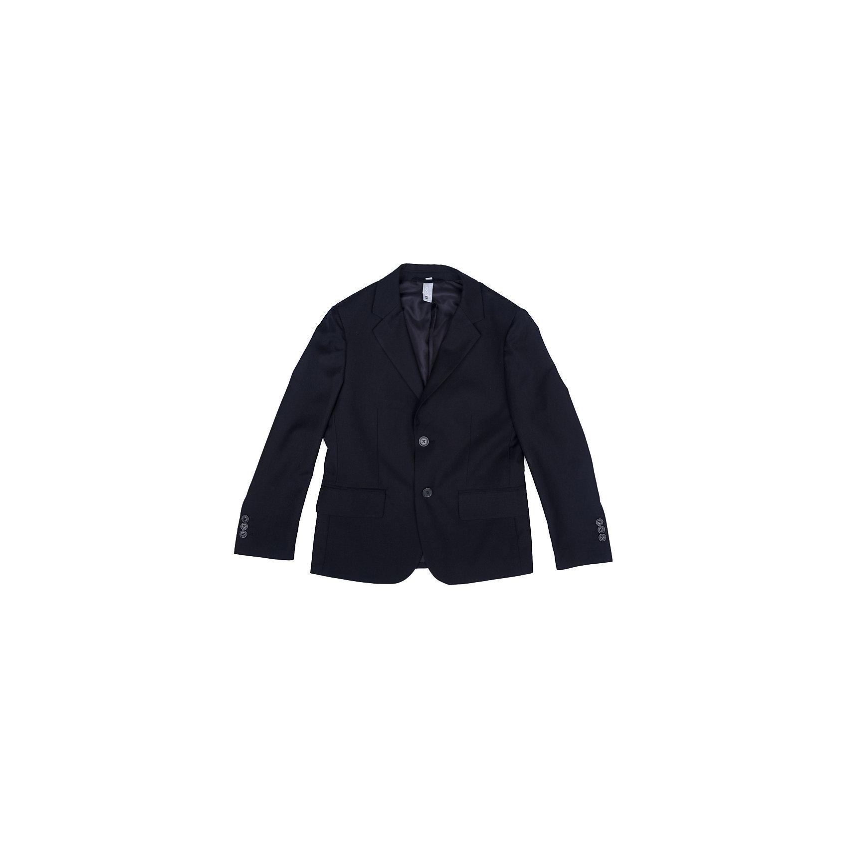 Пиджак  для мальчика ScoolКостюмы и пиджаки<br>Пиджак  для мальчика Scool<br>Однобортный пиджак подойдет как для официальных мероприятий, так и в качестве одной из базовых вещей школьного гардероба. Лекало модели полностью повторяет лекало пиджака для взрослого мужчины. При необходимости этот пиджак можно повесить на крючок - на модели предусмотрена петля - вешалка.Преимущества: Пиджак на подкладке из атласной тканиМодель с прорезными карманамиПиджак застегивается на пуговицы<br>Состав:<br>Верх: 65% полиэстер, 35% вискоза, Подкладка: 65% полиэстер 35% вискоза<br><br>Ширина мм: 190<br>Глубина мм: 74<br>Высота мм: 229<br>Вес г: 236<br>Цвет: синий<br>Возраст от месяцев: 156<br>Возраст до месяцев: 168<br>Пол: Мужской<br>Возраст: Детский<br>Размер: 164,122,128,134,140,146,152,158<br>SKU: 6754381