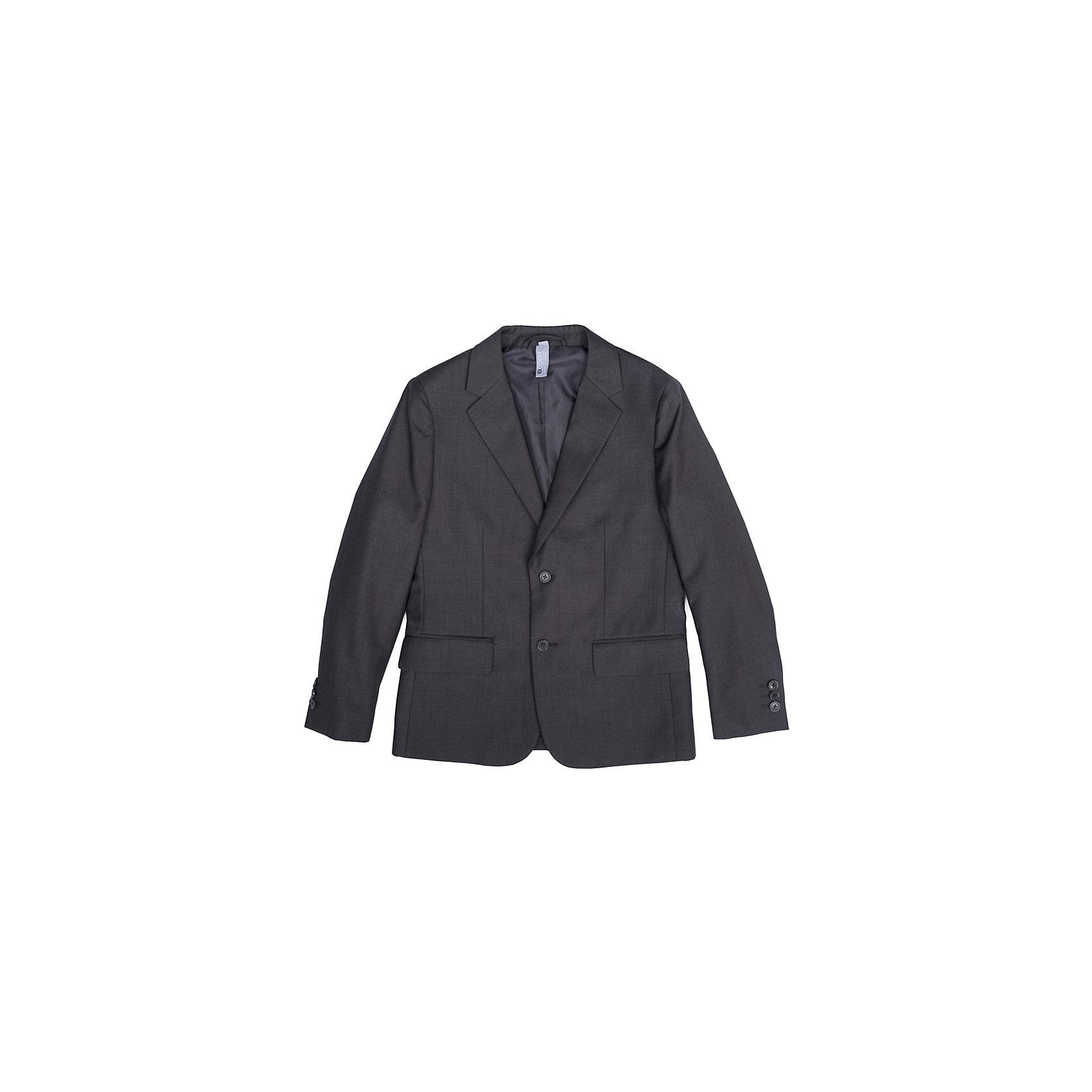 Пиджак  для мальчика ScoolКостюмы и пиджаки<br>Пиджак  для мальчика Scool<br>Однобортный пиджак подойдет как для официальных мероприятий, так и в качестве одной из базовых вещей школьного гардероба. Лекало модели полностью повторяет лекало пиджака для взрослого мужчины. При необходимости этот пиджак можно повесить на крючок - на модели предусмотрена петля - вешалка.Преимущества: Пиджак на подкладке из атласной тканиМодель с прорезными карманамиПиджак застегивается на пуговицы<br>Состав:<br>Верх: 65% полиэстер, 35% вискоза, Подкладка: 65% полиэстер 35% вискоза<br><br>Ширина мм: 190<br>Глубина мм: 74<br>Высота мм: 229<br>Вес г: 236<br>Цвет: серый<br>Возраст от месяцев: 156<br>Возраст до месяцев: 168<br>Пол: Мужской<br>Возраст: Детский<br>Размер: 164,122,128,134,140,146,152,158<br>SKU: 6754390