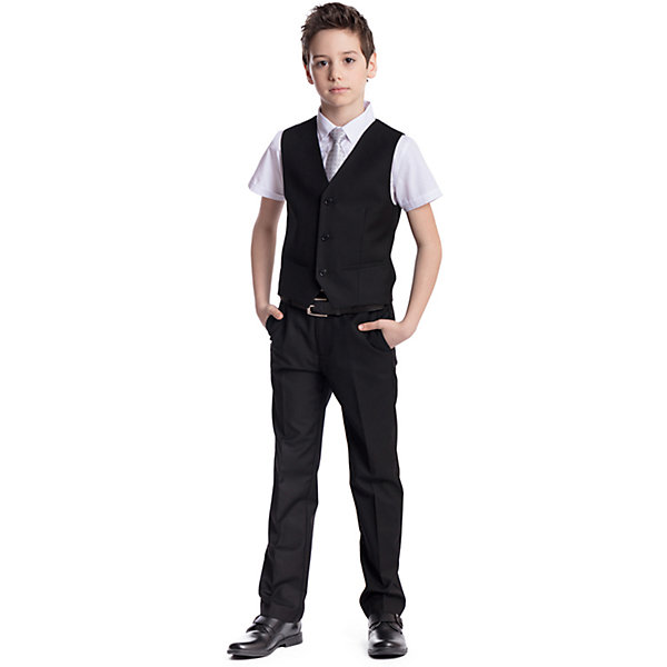 Комплект  для мальчика: брюки, жилет ScoolПиджаки и костюмы<br>Комплект  для мальчика: брюки, жилет Scool<br>Удобный практичный комплект из жилета и брюк в деловом стиле сможет быть как школьной формой, так и одеждой для официальных мероприятий.  Лекало этой модели полностью повторяет лекало модели для взрослого мужчины. Регулируемый ремешок на спинке жилета позволяет изделию хорошо сесть по фигуре. Брюки со стрелками; на внутренней стороне пояса предусмотрена регулировка по талии за счет удобной резинки на пуговицах.Преимущества: Жилет на подкладке из атласной тканиБрюки со шлевками, при необходимости можно использовать ремень<br>Состав:<br>Верх: 65% полиэстер, 35% вискоза, Подкладка: 65% полиэстер 35% вискоза<br>Ширина мм: 215; Глубина мм: 88; Высота мм: 191; Вес г: 336; Цвет: черный; Возраст от месяцев: 156; Возраст до месяцев: 168; Пол: Мужской; Возраст: Детский; Размер: 164,122,128,146,134,140,152,158; SKU: 6754408;
