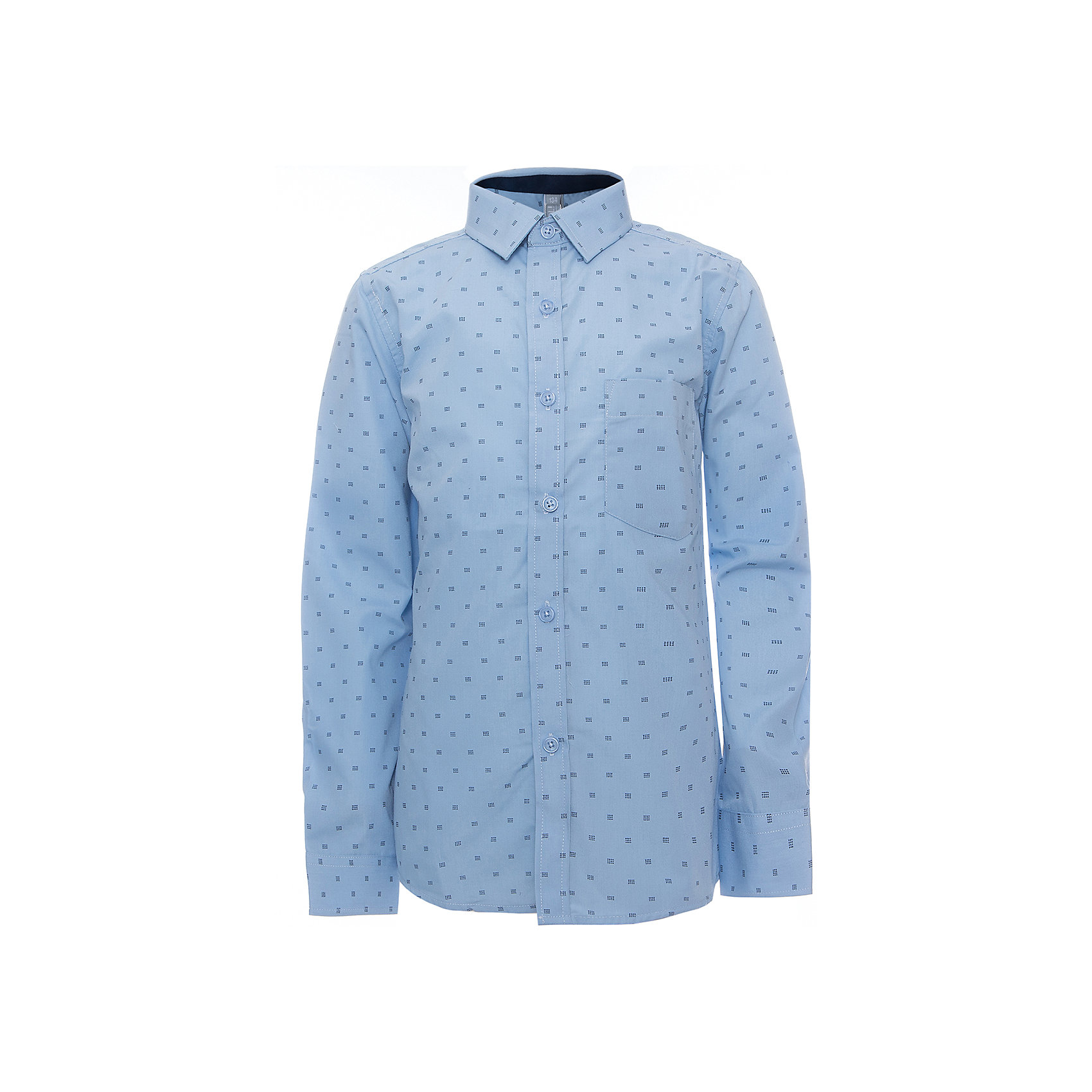 Рубашка для мальчика ScoolБлузки и рубашки<br>Рубашка для мальчика Scool<br>голубой, Сорочка с длинным рукавом в классическом стиле выполнена из приятной к телу смесовой ткани. Лекало этой модели полностью повторяет лекало модели для взрослого мужчины. Сорочка хорошо сочетается с костюмом в деловом стиле и джинсами.Преимущества: Модель с накладным карманомРукава сорочки с манжетами<br>Состав:<br>45% хлопок, 55% полиэстер<br><br>Ширина мм: 174<br>Глубина мм: 10<br>Высота мм: 169<br>Вес г: 157<br>Цвет: голубой<br>Возраст от месяцев: 156<br>Возраст до месяцев: 168<br>Пол: Мужской<br>Возраст: Детский<br>Размер: 164,122,128,134,140,146,152,158<br>SKU: 6754453
