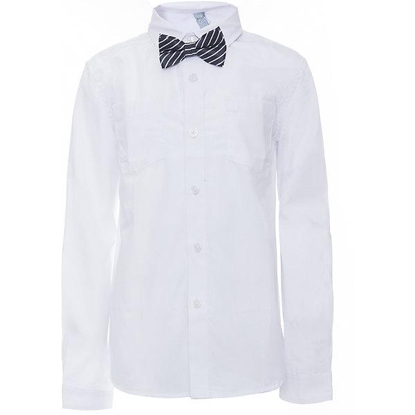 Рубашка для мальчика ScoolБлузки и рубашки<br>Рубашка для мальчика Scool<br>, Сорочка с длинным рукавом в классическом стиле выполнена из смесовой ткани, приятной к телу. Лекало этой модели полностью повторяет лекало модели для взрослого мужчины. Сорочка хорошо сочетается с костюмом в деловом стиле и джинсами. Модель дополнена аккуратным гастуком - бабочкой контрастного цвета.Преимущества: Модель с накладным карманомРукава сорочки с манжетами<br>Состав:<br>45% хлопок, 55% полиэстер<br>Ширина мм: 174; Глубина мм: 10; Высота мм: 169; Вес г: 157; Цвет: темно-синий; Возраст от месяцев: 72; Возраст до месяцев: 84; Пол: Мужской; Возраст: Детский; Размер: 146,140,134,128,122,164,158,152; SKU: 6754462;