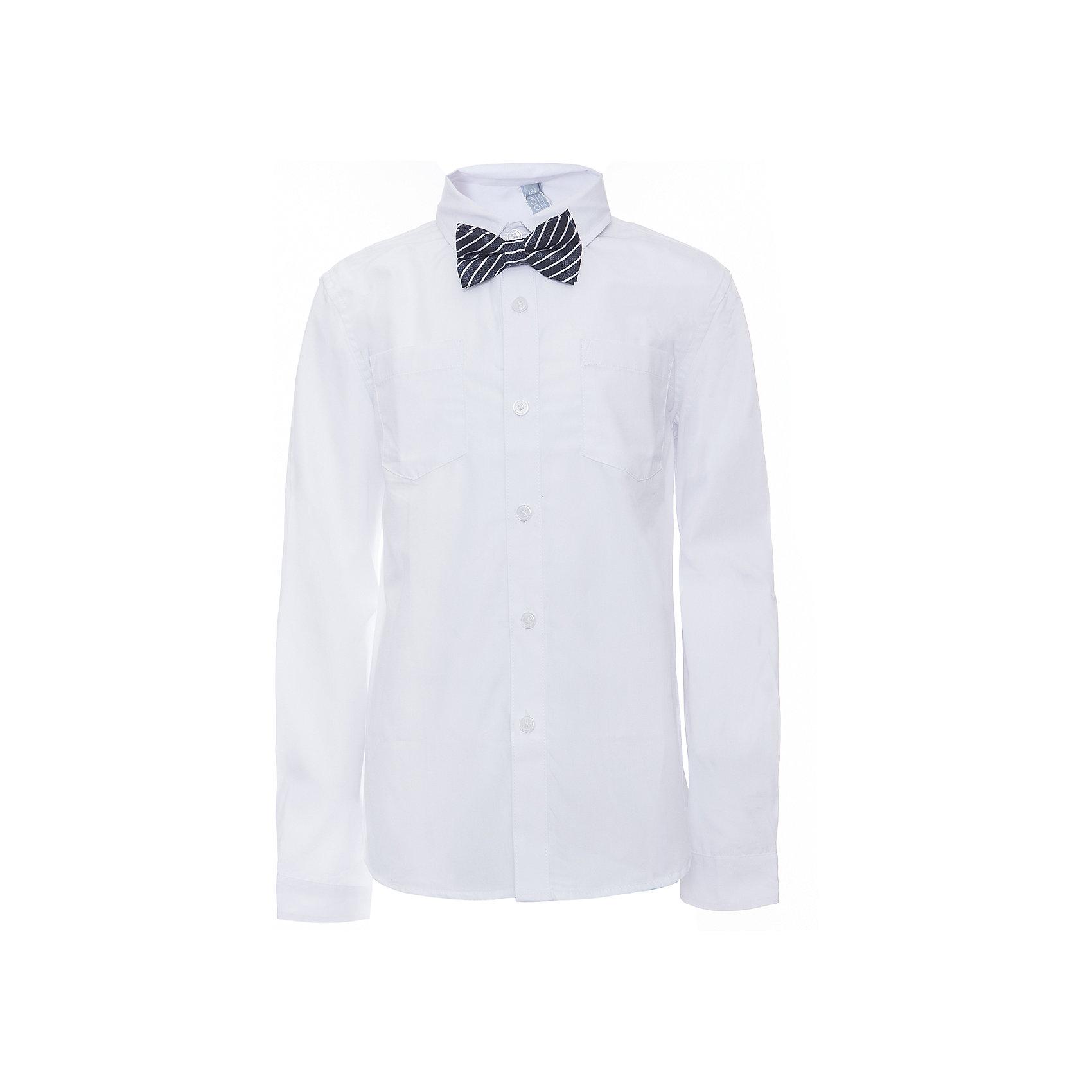 Рубашка для мальчика ScoolБлузки и рубашки<br>Рубашка для мальчика Scool<br>, Сорочка с длинным рукавом в классическом стиле выполнена из смесовой ткани, приятной к телу. Лекало этой модели полностью повторяет лекало модели для взрослого мужчины. Сорочка хорошо сочетается с костюмом в деловом стиле и джинсами. Модель дополнена аккуратным гастуком - бабочкой контрастного цвета.Преимущества: Модель с накладным карманомРукава сорочки с манжетами<br>Состав:<br>45% хлопок, 55% полиэстер<br><br>Ширина мм: 174<br>Глубина мм: 10<br>Высота мм: 169<br>Вес г: 157<br>Цвет: полуночно-синий<br>Возраст от месяцев: 120<br>Возраст до месяцев: 132<br>Пол: Мужской<br>Возраст: Детский<br>Размер: 146,152,158,164,122,128,134,140<br>SKU: 6754462