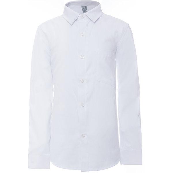 Рубашка для мальчика ScoolБлузки и рубашки<br>Рубашка для мальчика Scool<br>Сорочка с длинным рукавом в классическом стиле выполнена из приятной к телу смесовой ткани. Лекало этой модели полностью повторяет лекало модели для взрослого мужчины. Сорочка хорошо сочетается с костюмом в деловом стиле и джинсами.Преимущества: Модель с накладным карманомРукава сорочки с манжетами<br>Состав:<br>45% хлопок, 55% полиэстер<br>Ширина мм: 174; Глубина мм: 10; Высота мм: 169; Вес г: 157; Цвет: белый; Возраст от месяцев: 72; Возраст до месяцев: 84; Пол: Мужской; Возраст: Детский; Размер: 122,164,158,152,146,140,134,128; SKU: 6754471;