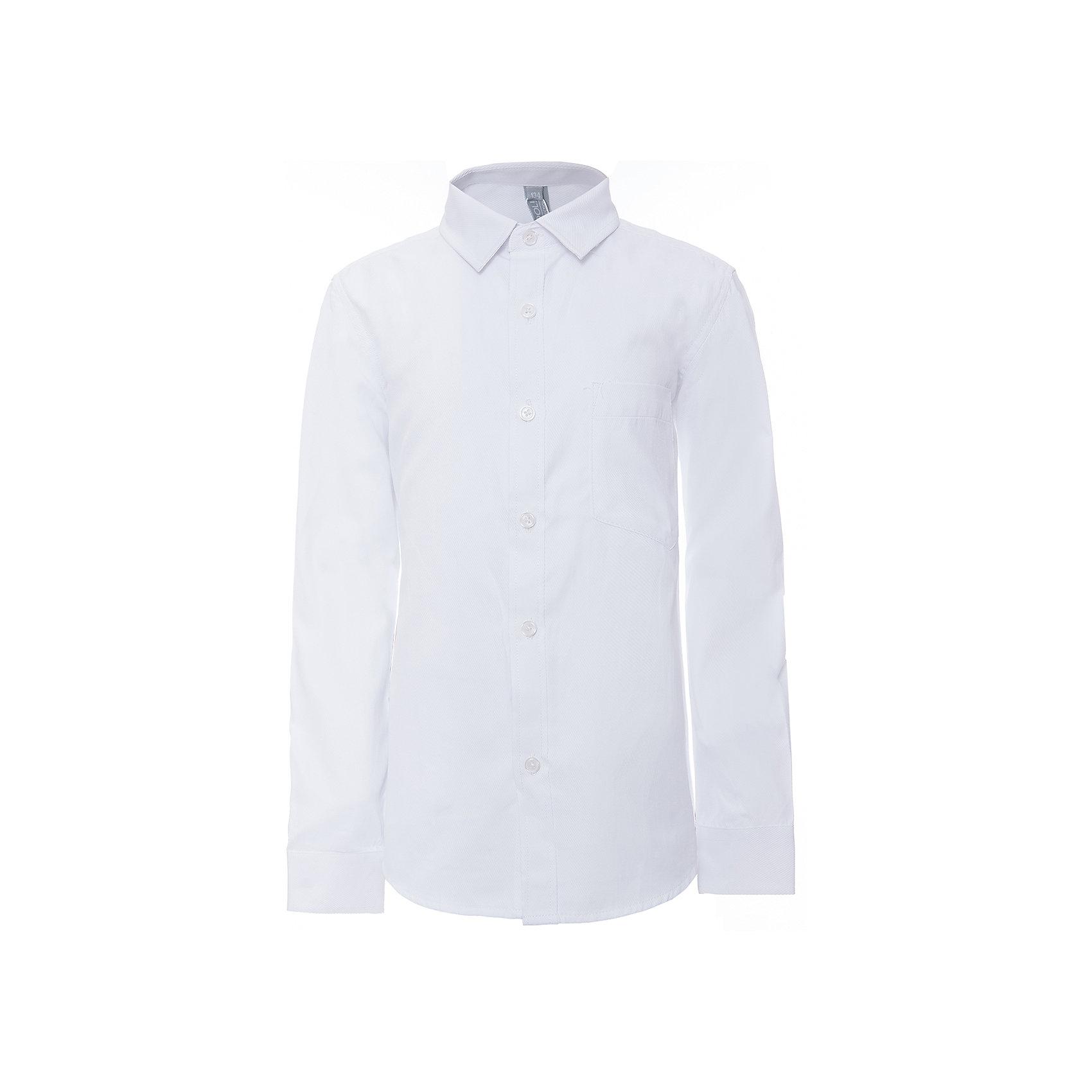 Рубашка для мальчика ScoolБлузки и рубашки<br>Рубашка для мальчика Scool<br>Сорочка с длинным рукавом в классическом стиле выполнена из приятной к телу смесовой ткани. Лекало этой модели полностью повторяет лекало модели для взрослого мужчины. Сорочка хорошо сочетается с костюмом в деловом стиле и джинсами.Преимущества: Модель с накладным карманомРукава сорочки с манжетами<br>Состав:<br>45% хлопок, 55% полиэстер<br><br>Ширина мм: 174<br>Глубина мм: 10<br>Высота мм: 169<br>Вес г: 157<br>Цвет: белый<br>Возраст от месяцев: 156<br>Возраст до месяцев: 168<br>Пол: Мужской<br>Возраст: Детский<br>Размер: 164,122,128,134,140,146,152,158<br>SKU: 6754471