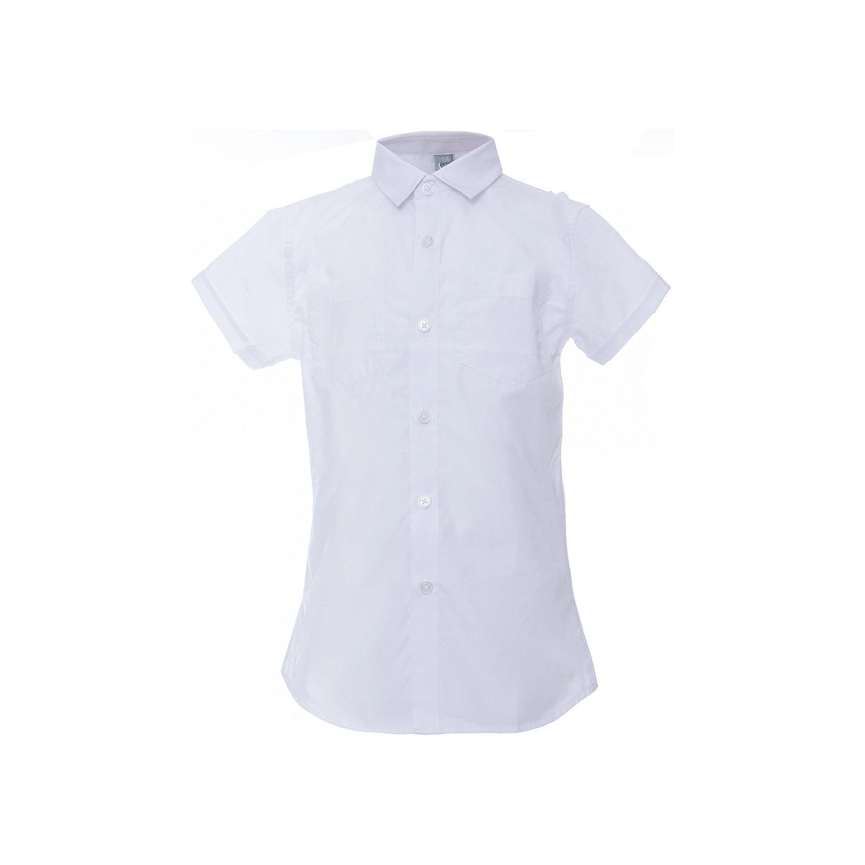 Рубашка для мальчика ScoolБлузки и рубашки<br>Рубашка для мальчика Scool<br>Сорочка с коротким рукавом в классическом стиле выполнена из приятной к телу смесовой ткани. Лекало этой модели полностью повторяет лекало модели для взрослого мужчины. Сорочка хорошо сочетается с костюмом в деловом стиле и джинсами.<br>Состав:<br>45% хлопок, 55% полиэстер<br><br>Ширина мм: 174<br>Глубина мм: 10<br>Высота мм: 169<br>Вес г: 157<br>Цвет: белый<br>Возраст от месяцев: 156<br>Возраст до месяцев: 168<br>Пол: Мужской<br>Возраст: Детский<br>Размер: 164,122,128,134,140,146,152,158<br>SKU: 6754489