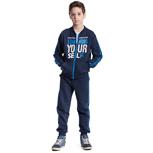 Комплект для мальчика: толстовка, брюки ScoolСпортивная форма<br>Комплект для мальчика: толстовка, брюки Scool<br>, Комплект из толстовки и брюк подойдет и для занятий спортом, для прогулок и для домашнего использования. Воротник, манжеты и низ толстовки выполнены из мягкой трикотажной ткани. Брюки декорированы лампасами на удобной широкой резинке и дополнительно снабжены регулируемым шнуром - кулиской. Низ брюк на мягких резинках.Преимущества: Свободный крой не сковывает движений ребенкаАккуратные швы не вызывают неприятных ощущенийМодель декорирована эффектным принтом<br>Состав:<br>80% хлопок, 20% полиэстер<br><br>Ширина мм: 215<br>Глубина мм: 88<br>Высота мм: 191<br>Вес г: 336<br>Цвет: синий<br>Возраст от месяцев: 72<br>Возраст до месяцев: 84<br>Пол: Мужской<br>Возраст: Детский<br>Размер: 122,164,158,152,146,140,134,128<br>SKU: 6754507