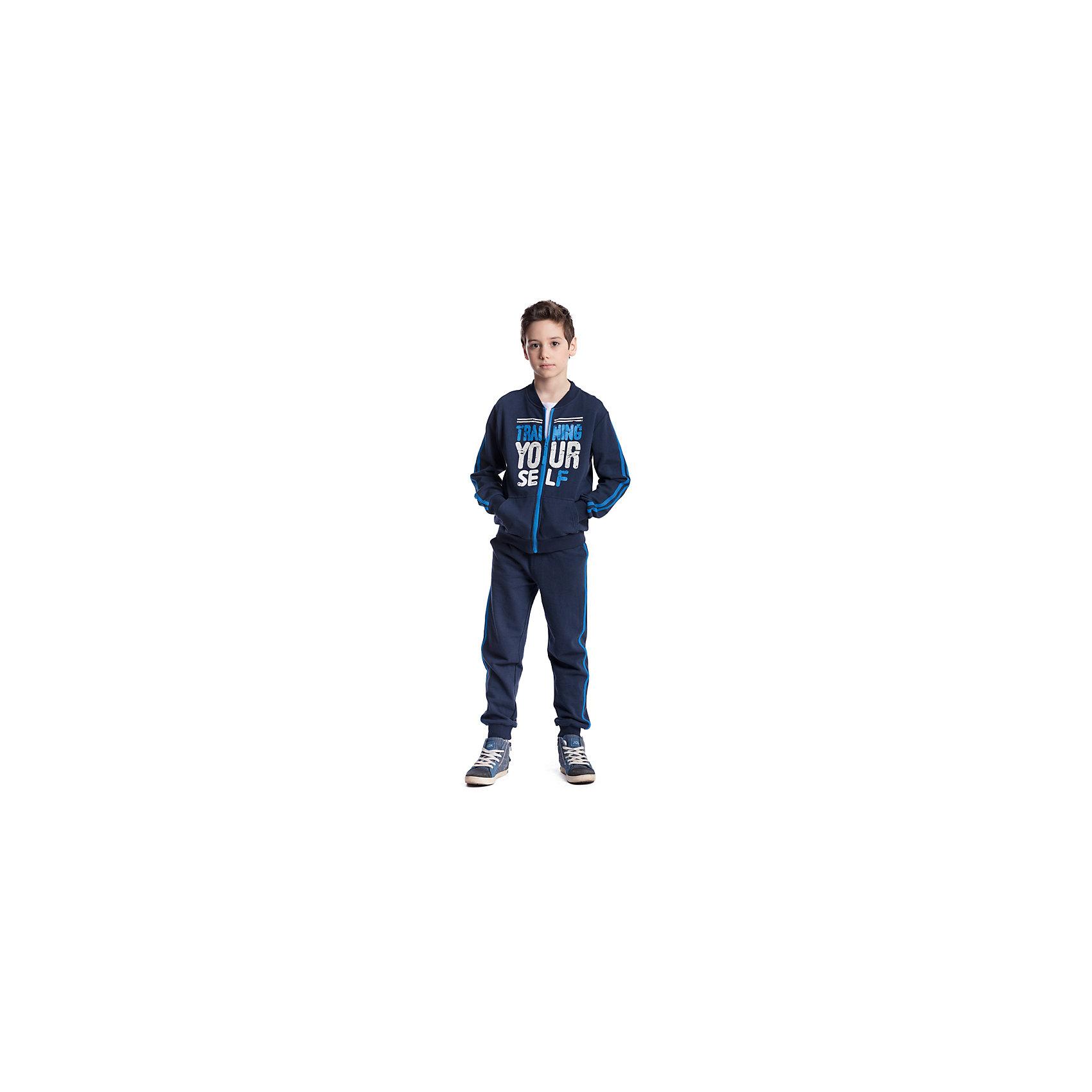 Комплект для мальчика: толстовка, брюки ScoolСпортивная форма<br>Комплект для мальчика: толстовка, брюки Scool<br>, Комплект из толстовки и брюк подойдет и для занятий спортом, для прогулок и для домашнего использования. Воротник, манжеты и низ толстовки выполнены из мягкой трикотажной ткани. Брюки декорированы лампасами на удобной широкой резинке и дополнительно снабжены регулируемым шнуром - кулиской. Низ брюк на мягких резинках.Преимущества: Свободный крой не сковывает движений ребенкаАккуратные швы не вызывают неприятных ощущенийМодель декорирована эффектным принтом<br>Состав:<br>80% хлопок, 20% полиэстер<br><br>Ширина мм: 215<br>Глубина мм: 88<br>Высота мм: 191<br>Вес г: 336<br>Цвет: синий<br>Возраст от месяцев: 156<br>Возраст до месяцев: 168<br>Пол: Мужской<br>Возраст: Детский<br>Размер: 164,122,128,134,140,146,152,158<br>SKU: 6754507