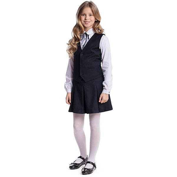 Купить Комплект текстильный для девочки: юбка, жилет S'cool, Китай, темно-синий, 128, 122, 164, 158, 152, 146, 140, 134, Женский