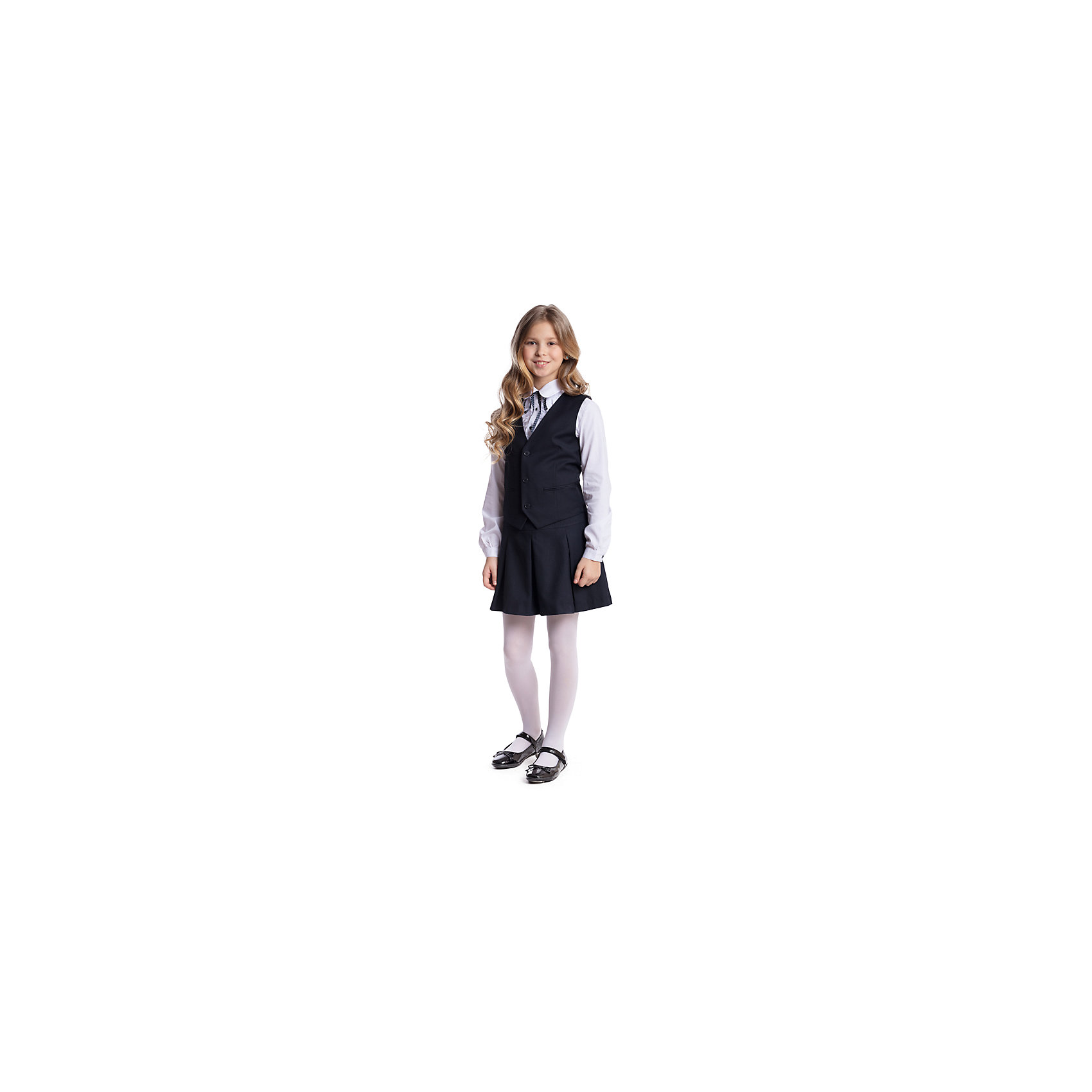 Комплект текстильный для девочки: юбка, жилет ScoolПиджаки и костюмы<br>Комплект текстильный для девочки: юбка, жилет Scool<br>Комплект из жилета и юбки в деловом стиле подойдет для официальных и праздничных мероприятий а также сможет быть одной из базовых вещей повседневного школьного гардероба ребенка. Модель на подкладке с небольшими вшивными карманами. На спинке жилета расположен удобный регулируемый ремешок который позволит изделию хорошо сесть по фигуре. Юбка декорирована бантовыми складками.Преимущества: Удобная застежка - молния расположена на боковой части юбкиСвободный крой не сковывает движений ребенка<br>Состав:<br>Верх: 65% полиэстер, 35% вискоза, Подкладка: 65% полиэстер 35% вискоза<br><br>Ширина мм: 207<br>Глубина мм: 10<br>Высота мм: 189<br>Вес г: 183<br>Цвет: темно-синий<br>Возраст от месяцев: 132<br>Возраст до месяцев: 144<br>Пол: Женский<br>Возраст: Детский<br>Размер: 158,164,122,128,134,140,146,152<br>SKU: 6754782