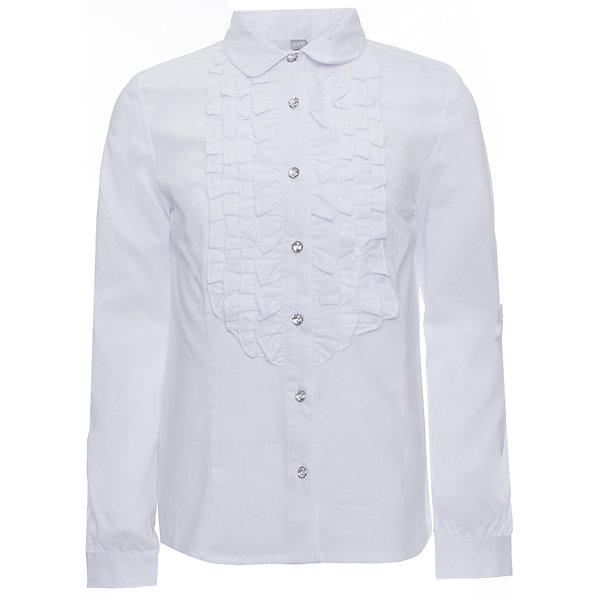 Блузка текстильная для девочки ScoolБлузки и рубашки<br>Блузка текстильная для девочки Scool<br>Блузка в классическом стиле сможет дополнить повседневный гардероб ребенка. Модель декорирована эффектными пуговицами и оборками на передней части. Длинные рукава блузки дополнены манжетами.<br>Состав:<br>68% хлопок, 28% полиэстер, 4% эластан<br>Ширина мм: 186; Глубина мм: 87; Высота мм: 198; Вес г: 197; Цвет: белый; Возраст от месяцев: 72; Возраст до месяцев: 84; Пол: Женский; Возраст: Детский; Размер: 134,128,122,164,158,152,146,140; SKU: 6754800;