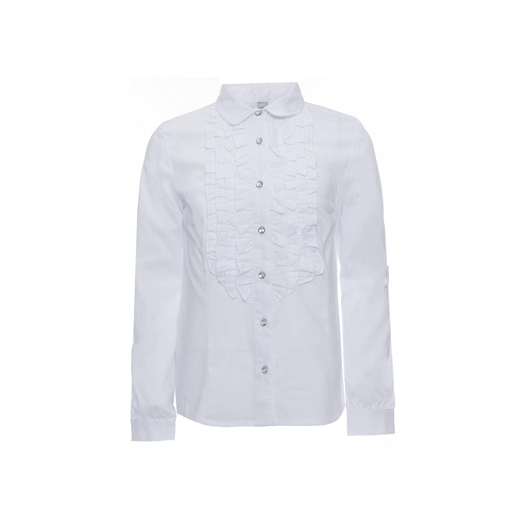 Блузка текстильная для девочки ScoolБлузки и рубашки<br>Блузка текстильная для девочки Scool<br>Блузка в классическом стиле сможет дополнить повседневный гардероб ребенка. Модель декорирована эффектными пуговицами и оборками на передней части. Длинные рукава блузки дополнены манжетами.<br>Состав:<br>68% хлопок, 28% полиэстер, 4% эластан<br><br>Ширина мм: 186<br>Глубина мм: 87<br>Высота мм: 198<br>Вес г: 197<br>Цвет: белый<br>Возраст от месяцев: 156<br>Возраст до месяцев: 168<br>Пол: Женский<br>Возраст: Детский<br>Размер: 164,122,128,134,140,146,152,158<br>SKU: 6754800