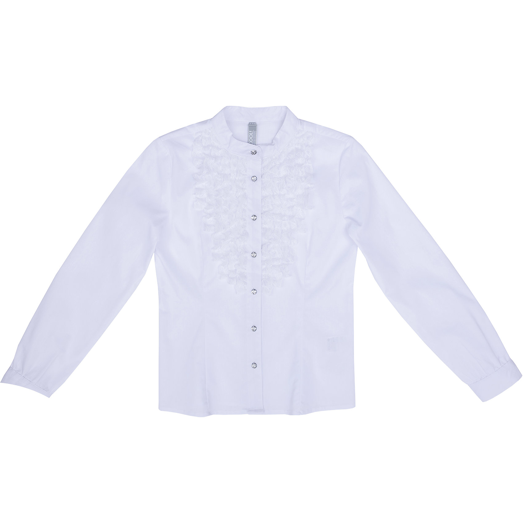 Блузка текстильная для девочки ScoolБлузки и рубашки<br>Блузка текстильная для девочки Scool<br>Блузка в классическом стиле сможет дополнить школьный гардероб ребенка. Модель с воротником - стойкой на передней части декорирована ажурной тесьмой. Длинные рукава блузки дополнены манжетами.<br>Состав:<br>68% хлопок, 28% полиэстер, 4% эластан<br><br>Ширина мм: 186<br>Глубина мм: 87<br>Высота мм: 198<br>Вес г: 197<br>Цвет: белый<br>Возраст от месяцев: 156<br>Возраст до месяцев: 168<br>Пол: Женский<br>Возраст: Детский<br>Размер: 164,122,128,134,140,146,152,158<br>SKU: 6754809