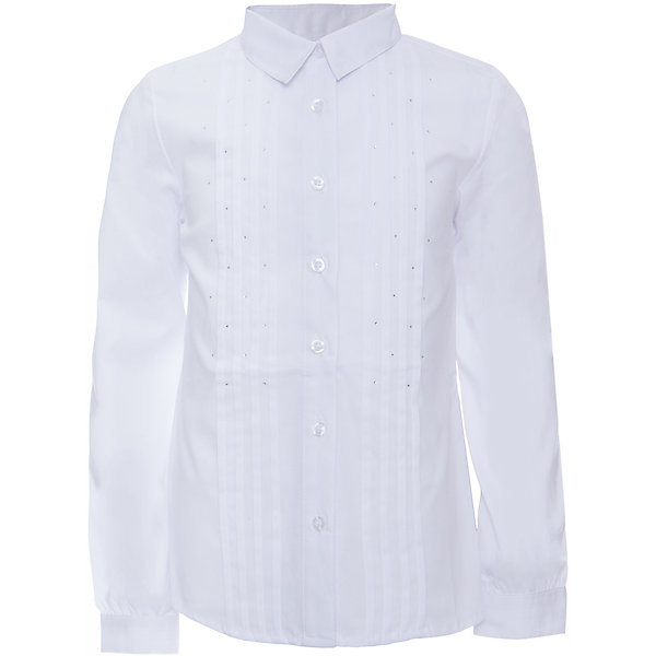 Блузка текстильная для девочки ScoolБлузки и рубашки<br>Блузка текстильная для девочки Scool<br>Блузка с длинным  рукавом в классическом стиле сможет дополнить школьный гардероб ребенка. Передняя часть этой модели декорирована россыпью страз и встрочными складками по всей длине изделия. Рукава дополнены манжетами.<br>Состав:<br>68% хлопок, 28% полиэстер, 4% эластан<br><br>Ширина мм: 186<br>Глубина мм: 87<br>Высота мм: 198<br>Вес г: 197<br>Цвет: белый<br>Возраст от месяцев: 72<br>Возраст до месяцев: 84<br>Пол: Женский<br>Возраст: Детский<br>Размер: 122,164,158,152,146,140,134,128<br>SKU: 6754818