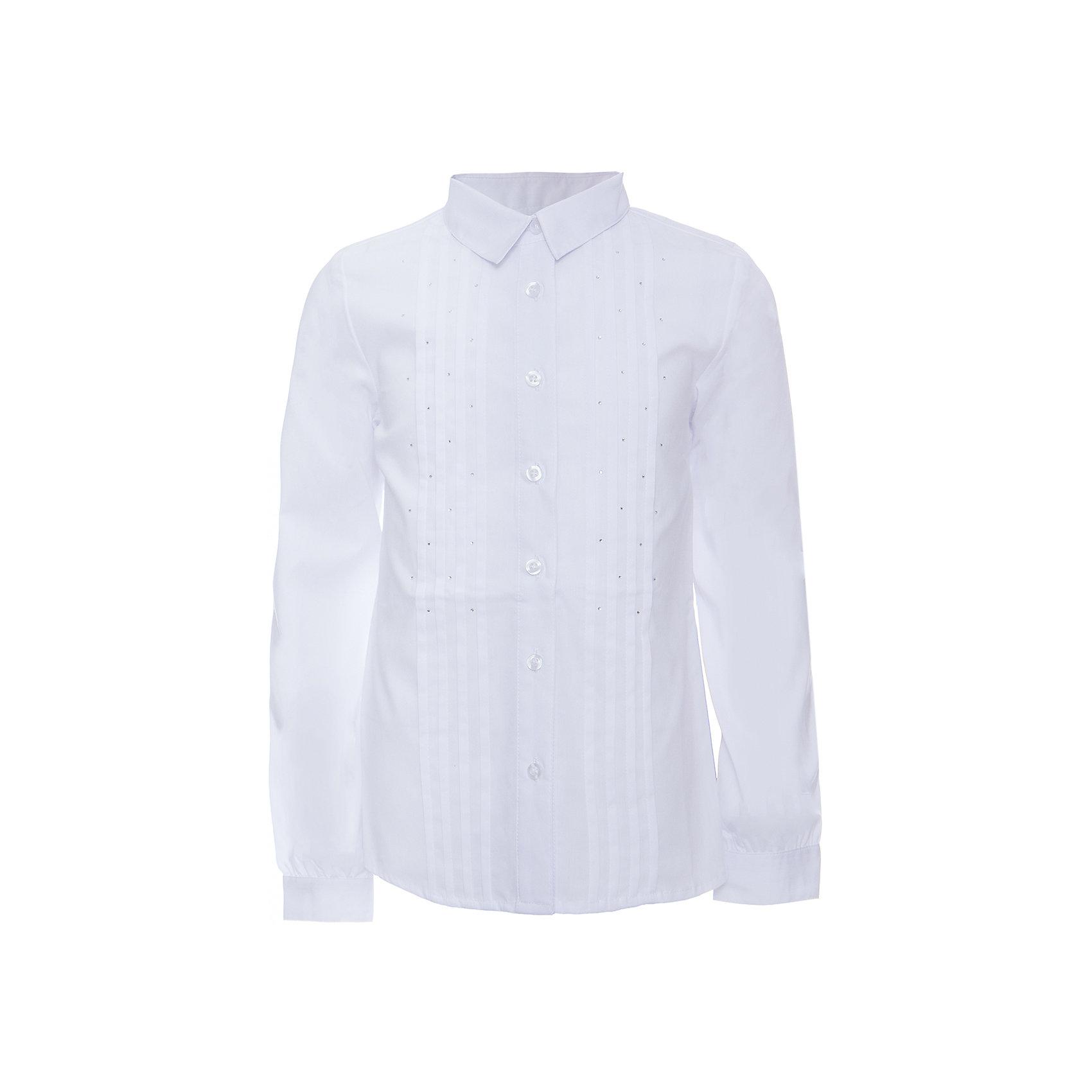 Блузка текстильная для девочки ScoolБлузки и рубашки<br>Блузка текстильная для девочки Scool<br>Блузка с длинным  рукавом в классическом стиле сможет дополнить школьный гардероб ребенка. Передняя часть этой модели декорирована россыпью страз и встрочными складками по всей длине изделия. Рукава дополнены манжетами.<br>Состав:<br>68% хлопок, 28% полиэстер, 4% эластан<br><br>Ширина мм: 186<br>Глубина мм: 87<br>Высота мм: 198<br>Вес г: 197<br>Цвет: белый<br>Возраст от месяцев: 132<br>Возраст до месяцев: 144<br>Пол: Женский<br>Возраст: Детский<br>Размер: 152,158,164,122,128,134,140,146<br>SKU: 6754818