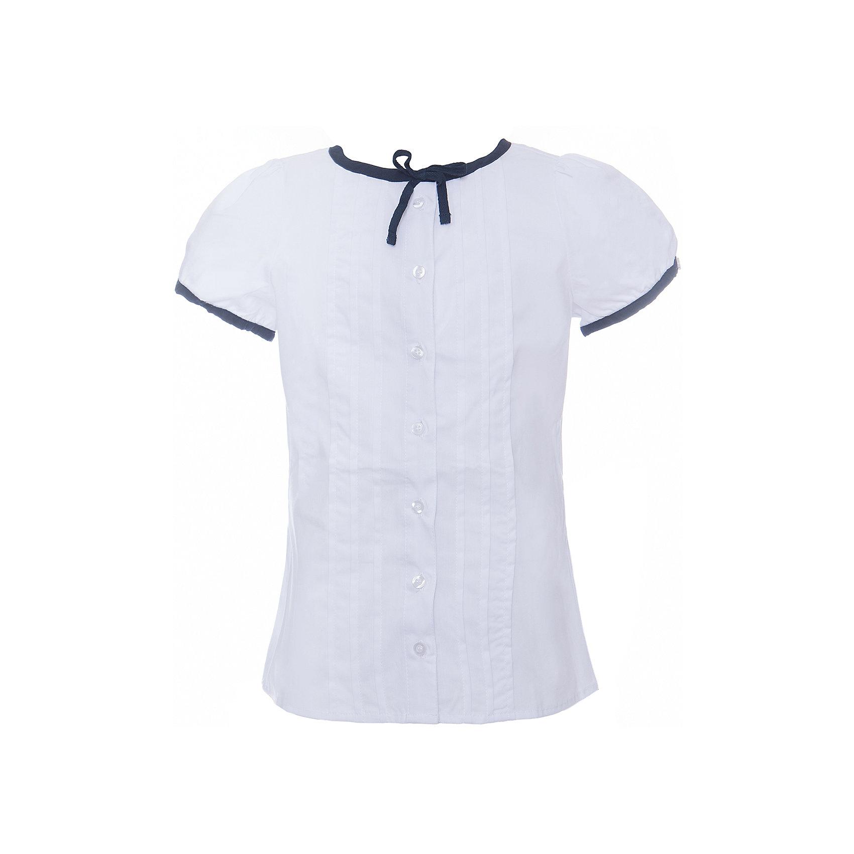 Блузка текстильная для девочки ScoolБлузки и рубашки<br>Блузка текстильная для девочки Scool<br>Блузка с коротким рукавом в классическом стиле сможет дополнить школьный гардероб ребенка. Передняя часть этой модели декорирована встрочными складками по всей длине изделия. Рукава - фонарики и горловина отделаны контрастной тканью.<br>Состав:<br>65% полиэстер, 35% хлопок<br><br>Ширина мм: 186<br>Глубина мм: 87<br>Высота мм: 198<br>Вес г: 197<br>Цвет: белый<br>Возраст от месяцев: 156<br>Возраст до месяцев: 168<br>Пол: Женский<br>Возраст: Детский<br>Размер: 164,122,128,134,140,146,152,158<br>SKU: 6754835