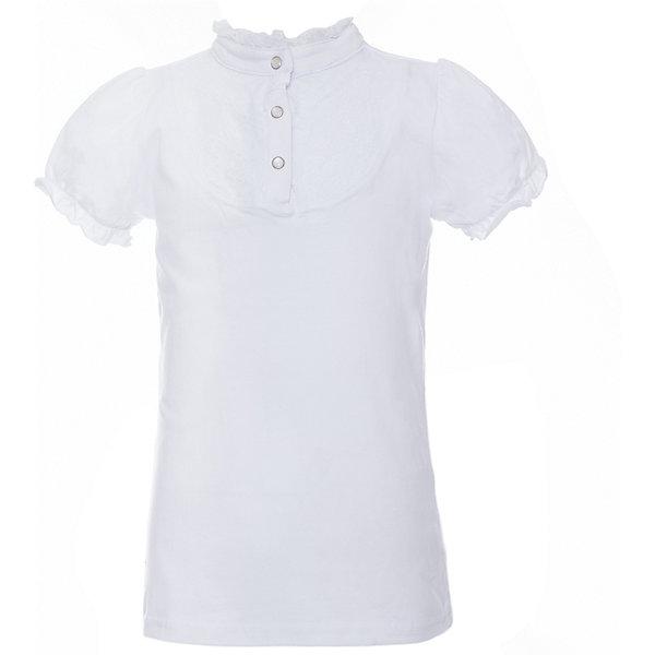 Блузка трикотажная для девочки ScoolБлузки и рубашки<br>Блузка трикотажная для девочки Scool<br>Блузка с коротким рукавом в классическом стиле сможет дополнить школьный гардероб ребенка. Передняя часть этой модели декорирована встрочными складками по всей длине изделия. Рукава - фонарики и горловина отделаны контрастной тесьмой. На воротнике тесьма завязывается на аккуратный бант.<br>Состав:<br>95% хлопок, 5% эластан<br>Ширина мм: 186; Глубина мм: 87; Высота мм: 198; Вес г: 197; Цвет: белый; Возраст от месяцев: 72; Возраст до месяцев: 84; Пол: Женский; Возраст: Детский; Размер: 122,164,128,134,140,146,152,158; SKU: 6754912;