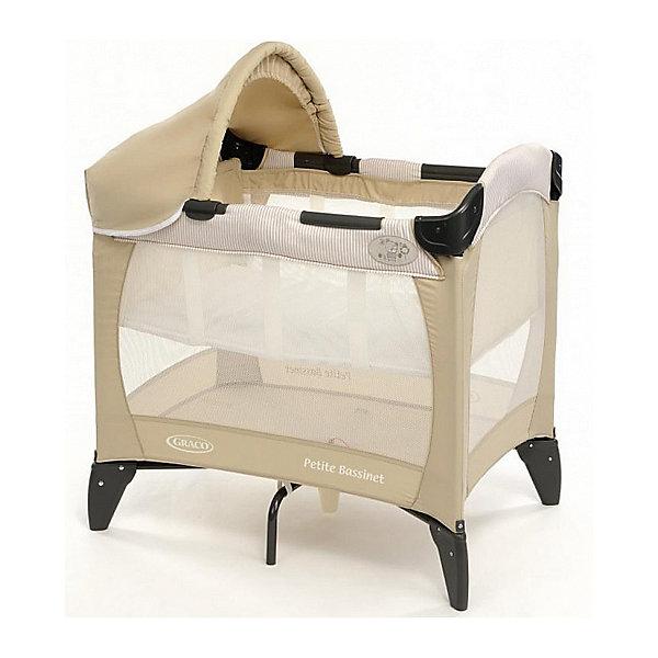 Манеж-кровать дорожная, Petite Bassinet, Graco, Benny and Bell  бежевыйДетские кроватки<br>Характеристики: <br><br>• дно регулируется в двух положениях по высоте;<br>• наличие опорных элементов: 7 шт.;<br>• защитный козырек;<br>• аксессуары в комплекте: съемный козырек, солнцезащитный тент, чехол для транспортировки;<br>• нагрузка на люльку: до 6,5 кг;<br>• допустимая нагрузка: до 15 кг;<br>• размер: 81х56х84 см;<br>• размер в сложенном виде: 23х80х23 см;<br>• ширина спального места: 56 см;<br>• вес: 8 кг.<br><br>Манеж-кровать дорожная, Petite Bassinet, Graco, Benny and Bell  бежевый ожно купить в нашем интернет-магазине.<br><br>Ширина мм: 810<br>Глубина мм: 560<br>Высота мм: 840<br>Вес г: 8700<br>Возраст от месяцев: 0<br>Возраст до месяцев: 6<br>Пол: Унисекс<br>Возраст: Детский<br>SKU: 6757367