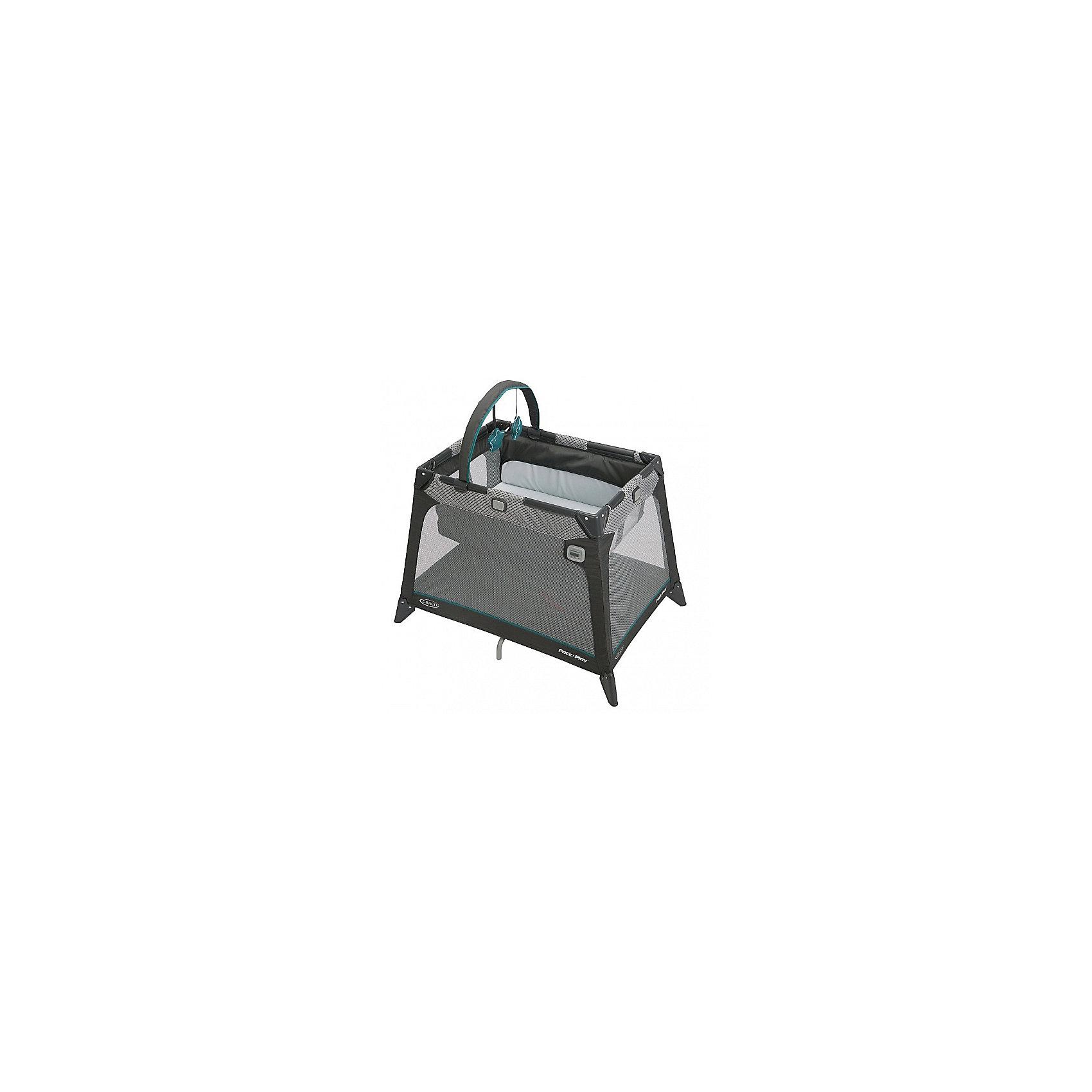 Манеж-кровать дорожная, Nimble Nook, Graco, серый с узоромМанежи-кроватки<br>Самая компактная дорожная кроватка идеально подойдет для путешествий с малышом. Компактная конструкция, трапециевидная форма и легкие материалы делают эту кроватку мобильной и практичной.<br>Матрасик с жёстким дном легко трансформируется при необходимости как в дно манежа так и обратно в спальное место.<br>Удобный механизм складывания в компактный куб. Весь манеж-кроватка упаковывается в небольшой удобный чехольчик/мешок.<br>Люлька удобно снимается и легко крепится. Встроенная успокаивающая электровибрация люльки позволит бысто убаюкать малыша. <br>А воздушная сетка по бокам обеспечивает хорошую вентиляцию.<br><br>Ширина мм: 980<br>Глубина мм: 680<br>Высота мм: 980<br>Вес г: 9200<br>Возраст от месяцев: 0<br>Возраст до месяцев: 6<br>Пол: Унисекс<br>Возраст: Детский<br>SKU: 6757368