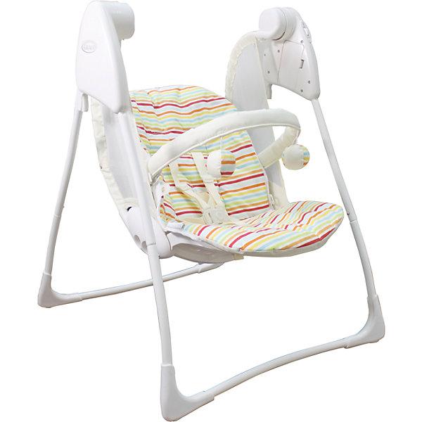 Качели Baby Deligth, Graco, Candy Stripe полоскиДетские качели для дома<br>Характеристики: <br><br>• электрокачели предназначены для детей весом до 9 кг;<br>• предусмотрено 3 положения наклона спинки;<br>• имеется 2 скорости качания;<br>• система 5-ти точечных ремней безопасности;<br>• на мягкой дуге подвешены развивающие игрушки;<br>• чехлы снимаются и стираются при температуре 30 градусов;<br>• качели компактно складываются;<br>• батарейки: 4 х C / LR14 1.5V (малые бочонки);<br>• батарейки приобретаются отдельно;<br>• размер: 87х64х105 см;<br>• размер в сложенном виде: 64х14х49 см;<br>• вес: 4,5 кг<br>• размер упаковки: 36х13х57 см;<br>• вес в упаковке: 5,5 кг.<br><br>Качели Baby Deligth, Graco, Candy Stripe полоски можно купить в нашем интернет-магазине.<br><br>Ширина мм: 630<br>Глубина мм: 600<br>Высота мм: 820<br>Вес г: 5500<br>Цвет: разноцветный<br>Возраст от месяцев: 0<br>Возраст до месяцев: 12<br>Пол: Унисекс<br>Возраст: Детский<br>SKU: 6757373