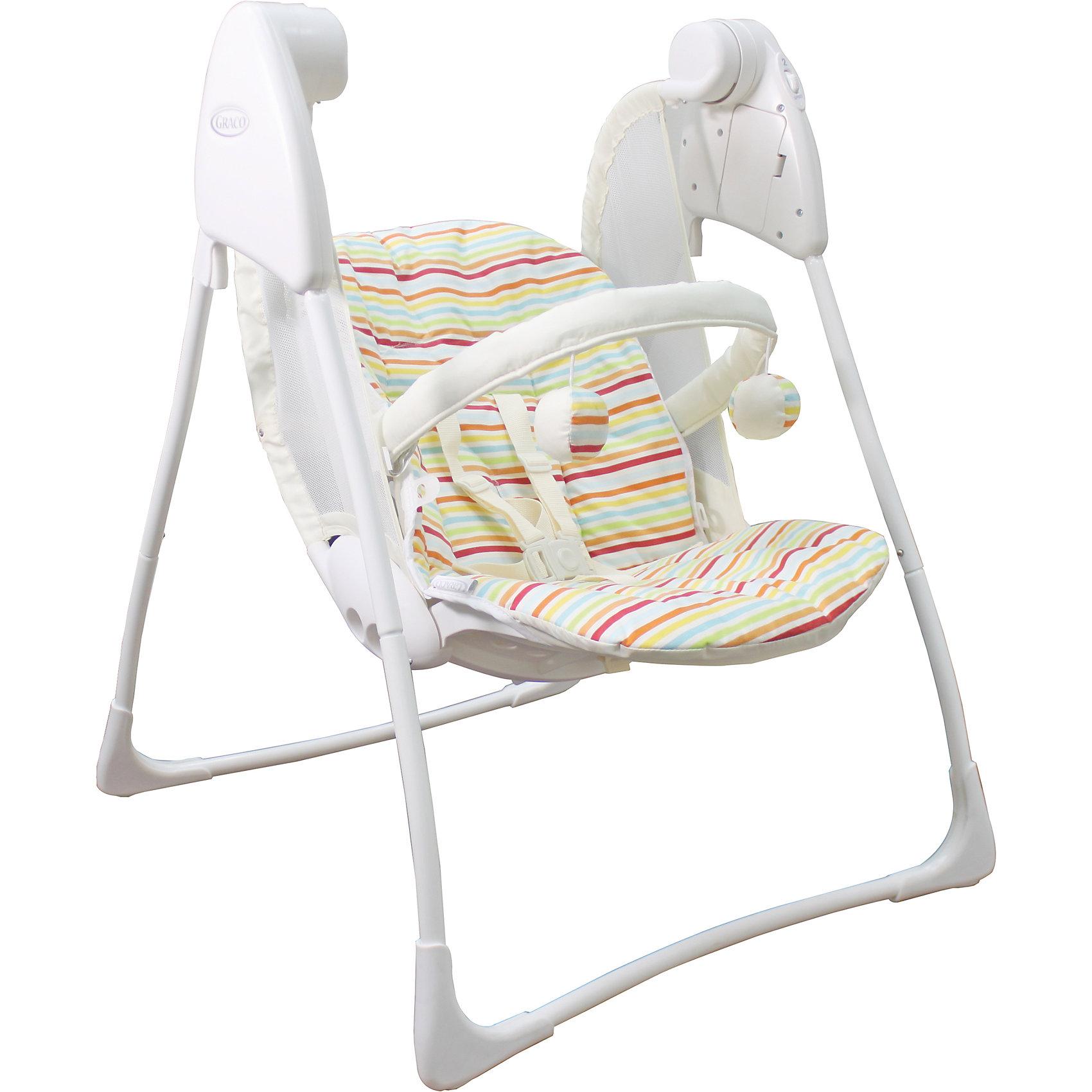 Качели Baby Deligth, Graco, Candy Stripe полоскиКачели электронные<br>Характеристики: <br><br>• электрокачели предназначены для детей весом до 9 кг;<br>• предусмотрено 3 положения наклона спинки;<br>• имеется 2 скорости качания;<br>• система 5-ти точечных ремней безопасности;<br>• на мягкой дуге подвешены развивающие игрушки;<br>• чехлы снимаются и стираются при температуре 30 градусов;<br>• качели компактно складываются;<br>• батарейки: 4 х C / LR14 1.5V (малые бочонки);<br>• батарейки приобретаются отдельно;<br>• размер: 87х64х105 см;<br>• размер в сложенном виде: 64х14х49 см;<br>• вес: 4,5 кг<br>• размер упаковки: 36х13х57 см;<br>• вес в упаковке: 5,5 кг.<br><br>Качели Baby Deligth, Graco, Candy Stripe полоски можно купить в нашем интернет-магазине.<br><br>Ширина мм: 630<br>Глубина мм: 600<br>Высота мм: 820<br>Вес г: 5500<br>Цвет: разноцветный<br>Возраст от месяцев: 0<br>Возраст до месяцев: 12<br>Пол: Унисекс<br>Возраст: Детский<br>SKU: 6757373