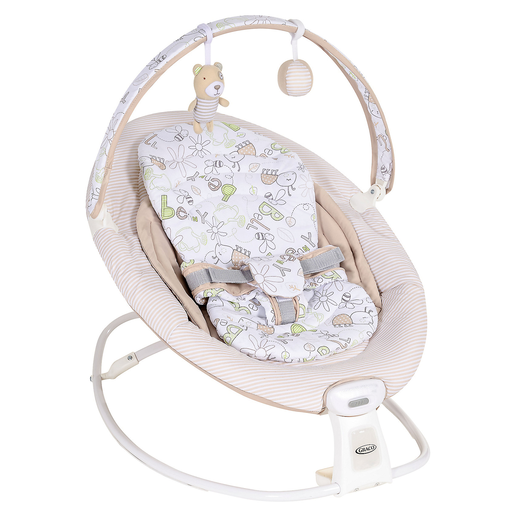 Кресло-качалка Duet Rocker, Graco, Benny and Bell, бежевыйКресла-качалки<br>Эта модель совмещает в себе функции кресла-качалки и неподвижного сиденья. Плавная вибрация помогает успокоить малыша, а встроенная перекладина с игрушками представляет собой источник развлечения для него.<br><br>Ширина мм: 640<br>Глубина мм: 580<br>Высота мм: 850<br>Вес г: 4000<br>Возраст от месяцев: 0<br>Возраст до месяцев: 12<br>Пол: Унисекс<br>Возраст: Детский<br>SKU: 6757375
