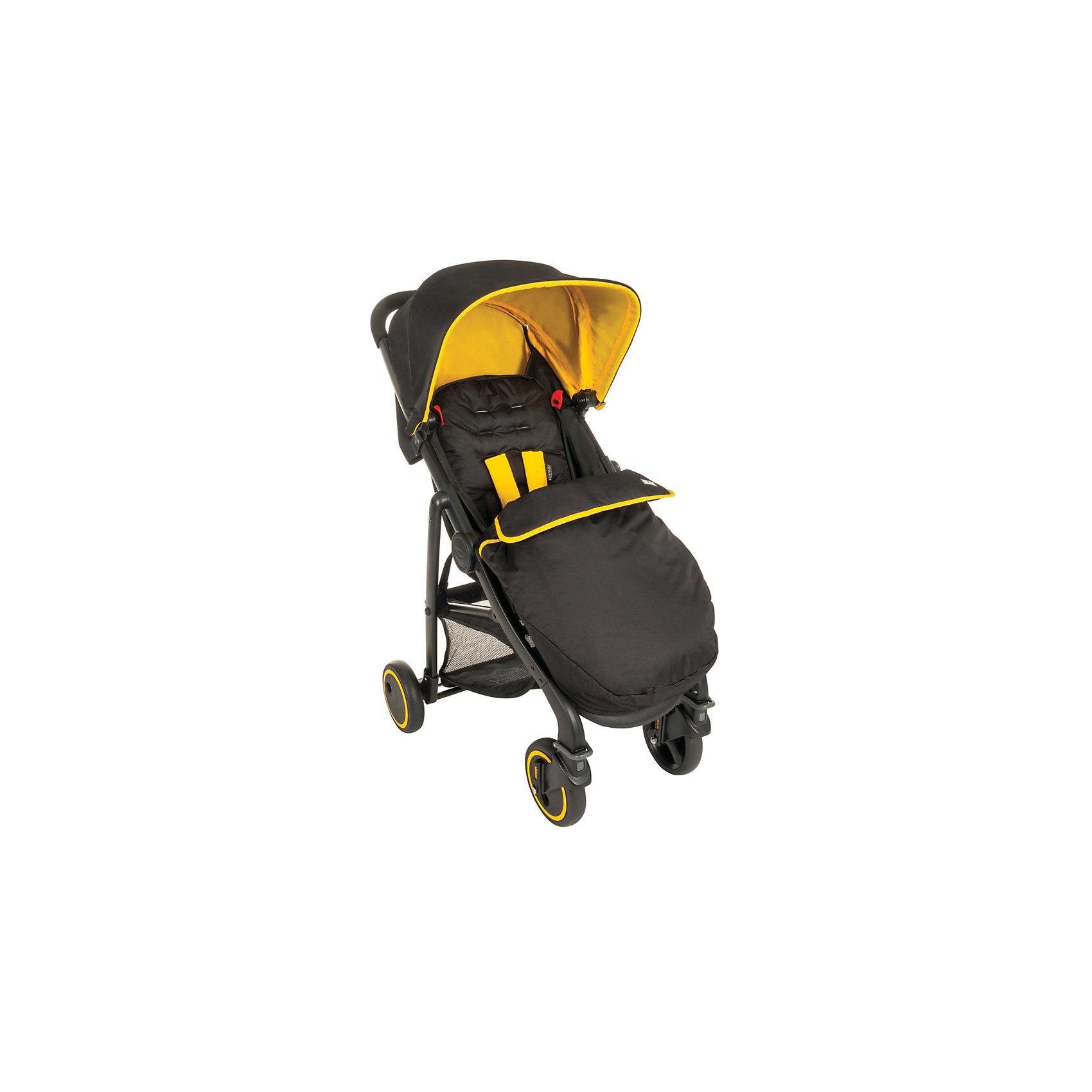 Прогулочная коляска Blox, Graco, черный с желтымПрогулочные коляски<br>Характеристики коляски<br><br>Прогулочный блок:<br><br>• регулируется наклон спинки, горизонтальное положение;<br>• регулируется подножка;<br>• 5-ти точечные ремни безопасности;<br>• защитный бампер;<br>• чехлы прогулочного блока снимаются и стираются;<br>• в комплекте чехол на ножки и дождевик;<br>• материал: алюминий, пластик, полиэстер.<br><br>Рама коляски:<br><br>• коляска кладывается одной рукой;<br>• передние поворотные колеса с блокировкой;<br>• колеса изготовлены из плотной резины;<br>• на базу можно установить автокресло: Graco Snugfix и Junior baby;<br>• тип складывания: книжка.<br><br>Размер коляски: 80х58х100 см<br>Размер в сложенном виде: 80х59х29 см<br>Вес: 8 кг<br>Размер упаковки: 66х19х73 см<br>Вес в упаковке: 9,7 кг<br><br>Прогулочную коляску Blox, Graco, черный с желтым можно купить в нашем интернет-магазине.<br><br>Ширина мм: 490<br>Глубина мм: 280<br>Высота мм: 480<br>Вес г: 9760<br>Возраст от месяцев: 6<br>Возраст до месяцев: 36<br>Пол: Унисекс<br>Возраст: Детский<br>SKU: 6757387