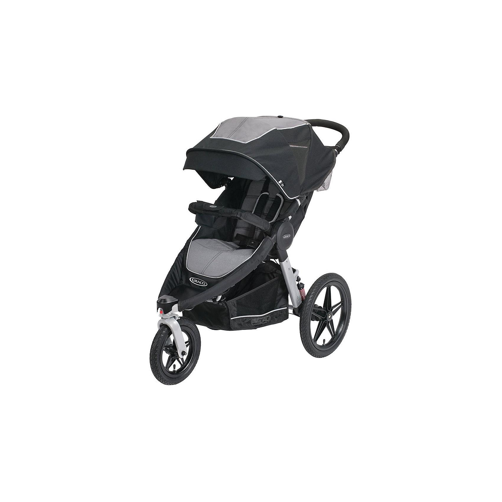 Прогулочная коляска Relay Jogger Panther, Graco, серыйПрогулочные коляски<br>Трёхколёсная детская коляска с комфортным блоком для детей с 6 месяцев и весом до 15 кг (примерно до 3х лет). Идеально подойдёт родителям, ведущим активный образ жизни или проживающих за городом!<br>Большие пневматические колёса и отличная амортизация создают максимально удобное путешествие по городу, в парке или по пересеченной местности!<br>Мульти регулировка спинки, складывание коляски одной рукой книжкой, фиксация переднего поворотного колеса, дождевик в комплекте, просторная сетка для покупок!<br><br>Ширина мм: 500<br>Глубина мм: 455<br>Высота мм: 880<br>Вес г: 16600<br>Возраст от месяцев: 6<br>Возраст до месяцев: 36<br>Пол: Унисекс<br>Возраст: Детский<br>SKU: 6757390