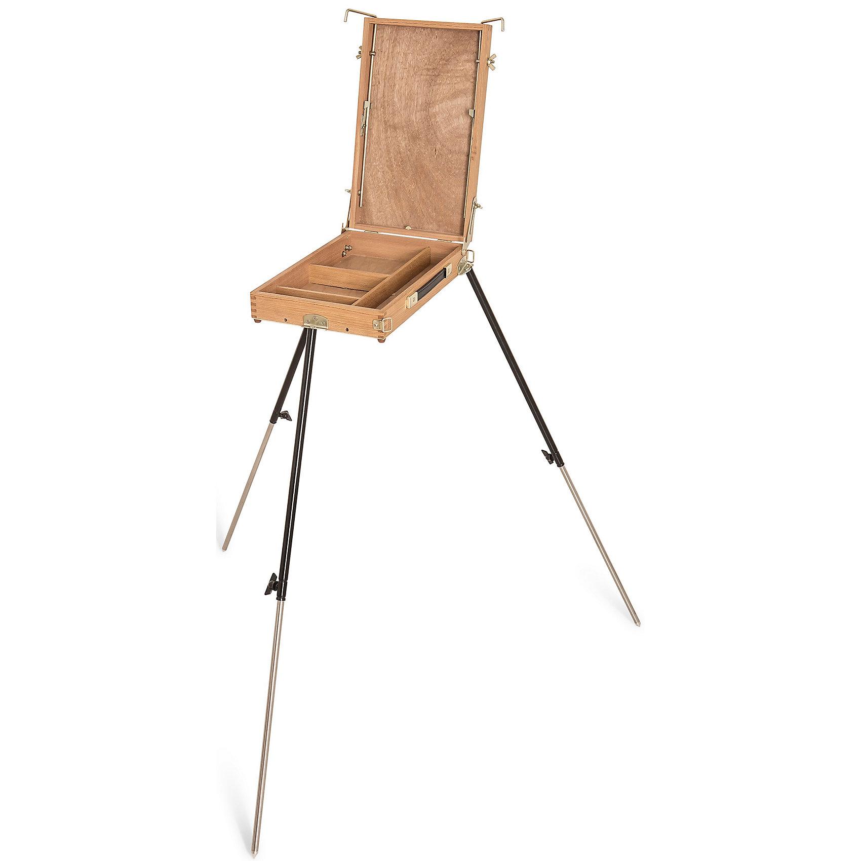 Этюдный ящикПринадлежности для творчества<br>Классический этюдный ящик из промасленного английского бука. Самая легкая модель в линейке этюдников Малевичъ, особенно удобная для  живописи на пленэре. Оснащенный телескопическими ножками и регулирующимся наклоном холста, этюдник позволяет комфортно работать как сидя, так и стоя. При желании, ножки можно снять, чтобы использовать его в качестве настольного мольберта. Во внутреннем ящике можно хранить кисти, краски и другие необходимые принадлежности. Буковая древесина, из которой изготовлен этюдник - очень прочный материал, традиционно использующийся для производства профессиональных мольбертов. Крепления и фурнитура - из устойчивого к коррозии металлического сплава красивого золотистого цвета. В сложенном виде этюдник представляет собой компактный ящик с ручкой и ремешком для ношения на плече. Дополнительно прилагается чехол для ножек.<br><br>Габариты: <br><br>Высота – 88-123 см<br>Ящик - 25 х 40 х 7,5 см <br>Ширина полки для холста - 37 см <br>Максимальная высота холста - 65 см <br>Ниша для подрамника - 2 см <br>Габариты в сложенном виде - 25 х 40 х 7,5 см <br>Вес – 3 кг<br><br>Этюдник Малевичъ: <br><br>·          суперлегкий <br>·          прочный и надежный <br>·          из натурального дерева <br>·          устойчив к влаге и коррозии <br>·          со съемными телескопическими ножками <br>·          с внутренним ящиком для красок и инструментов <br>·          компактно складывается <br>·          оснащен ручкой и ремнем для переноски <br>·          особенно удобен при работе на пленэре<br><br>Ширина мм: 520<br>Глубина мм: 320<br>Высота мм: 120<br>Вес г: 3000<br>Возраст от месяцев: 84<br>Возраст до месяцев: 2147483647<br>Пол: Унисекс<br>Возраст: Детский<br>SKU: 6757425