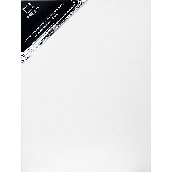 Холст на подрамнике Малевичъ, хлопок 380 гр, 30x40 смХолсты<br>Полностью готовые к работе холсты  для профессиональной живописи. Представляют собой грунтованное среднезернистое полотно из 100% хлопка плотностью 380 г/кв. м, натянутое на деревянный подрамник. В комплект входят клинья, позволяющие регулировать степень натяжения полотна. Гладкая поверхность хлопкового полотна удобна для предварительных набросков, а повышенная плотность холста позволяет использовать его для картин большого формата. Все холсты Малевич изготавливаются из 100% натуральных материалов и проходят тестирование профессиональными художниками.<br><br>Холсты на подрамниках Малевич:<br><br>•    изготовлены из плотного натурального полотна без узелков и неровностей<br>•    профессионально натянуты и загрунтованы<br>•    экономят время художника – сразу же можно приступать к работе<br>•    подходят для любого вида красок, кроме акварельных (для которых у нас есть Акварельные холсты)<br>•    гладкая поверхность удобна для карандашных набросков<br><br>Ширина мм: 300<br>Глубина мм: 400<br>Высота мм: 20<br>Вес г: 385<br>Возраст от месяцев: 84<br>Возраст до месяцев: 2147483647<br>Пол: Унисекс<br>Возраст: Детский<br>SKU: 6757432