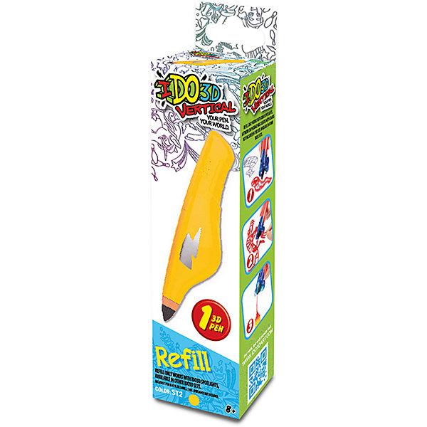 Картридж для 3Д ручки Вертикаль, желтыйНаборы 3D ручек<br>Характеристики товара:<br><br>• возраст: от 8 лет;<br>• материал: пластик;<br>• в комплекте: 1 картридж;<br>• размер упаковки: 16,5х4,5х3,5 см;<br>• вес упаковки: 78 гр.;<br>• страна производитель: Китай.<br><br>Картридж для 3D ручки «Вертикаль» желтый — дополнительный картридж для создания объемных изображений при помощи 3D ручки. Внутри картриджа особый жидкий полимер, который затвердевает под воздействием лампы. Получаются объемные фигурки. Толщина линий регулируется простым нажатием на стенки картриджа. <br><br>Картридж для 3D ручки «Вертикаль» желтый можно приобрести в нашем интернет-магазине.<br><br>Ширина мм: 45<br>Глубина мм: 35<br>Высота мм: 165<br>Вес г: 78<br>Возраст от месяцев: 36<br>Возраст до месяцев: 2147483647<br>Пол: Унисекс<br>Возраст: Детский<br>SKU: 6758207