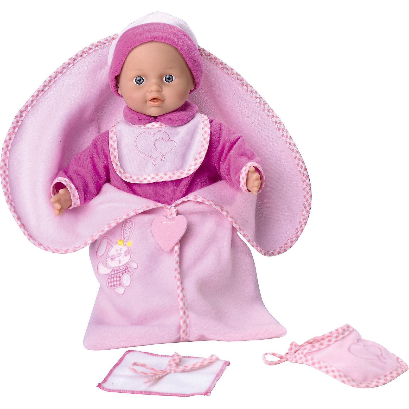 Кукла Tiny Baby с конвертом для новорожденных, Loko ToysКуклы-пупсы<br>Характеристики товара:<br><br>• возраст: от 10 месяцев;<br>• материал: пластик, текстиль, ПВХ;<br>• в комплекте: кукла, конверт;<br>• высота куклы: 30 см;<br>• тип батареек: 3 батарейки LR44;<br>• наличие батареек: в комплекте;<br>• размер упаковки: 38х28х11,5 см;<br>• вес упаковки: 600 гр.;<br>• страна производитель: Китай;<br>• товар представлен в ассортименте, нет возможности выбрать конкретную расцветку.<br><br>Кукла «Tiny Baby» Loko Toys с конвертом для новорожденных одета в розовый мягкий костюмчик и шапочку. На шее повязан слюнявчик. В комплекте идет мягкий в конверт, укутав малыша в который, он сможет сладко поспать. Игра с куклой привьет девочке любовь, чувство ответственности, заботы и помощи окружающим. Нажав на животик, кукла начнет плакать, а маленькая заботливая мама может покачать пупса и успокоить.<br><br>Куклу «Tiny Baby» Loko Toys с конвертом для новорожденных можно приобрести в нашем интернет-магазине.<br><br>Ширина мм: 280<br>Глубина мм: 110<br>Высота мм: 380<br>Вес г: 600<br>Возраст от месяцев: 10<br>Возраст до месяцев: 2147483647<br>Пол: Женский<br>Возраст: Детский<br>SKU: 6759066