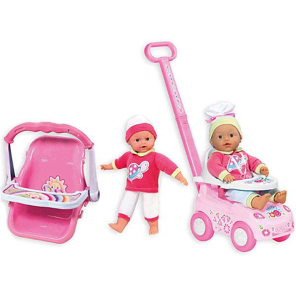 Кукла My Dolly Sucette с каталкой, автокреслом и ходунками, Loko ToysКуклы<br>Характеристики товара:<br><br>• возраст: от 1,5 лет;<br>• материал: пластик, текстиль, ПВХ;<br>• в комплекте: 2 куклы, каталка, автокресло, соска;<br>• высота кукол: 30 и 37 см;<br>• размер упаковки: 55,5х39х18,7 см;<br>• вес упаковки: 2 кг;<br>• страна производитель: Китай;<br>• товар представлен в ассортименте, нет возможности выбрать конкретную расцветку.<br><br>Кукла «My Dolly Sucette» Loko Toys с каталкой и автокреслом одета в розовый мягкий костюм и шапочку. В комплекте 2 куклы и дополнительные аксессуары по уходу за пупсом. На каталке можно покатать куклу на прогулке. Для перевозки в автомобиле предусмотрено удобное автокресло со столиком для кормления пупса. Игра с куклой привьет девочке любовь, чувство ответственности, заботы и помощи окружающим. <br><br>Куклу «My Dolly Sucette» Loko Toys с каталкой и автокреслом можно приобрести в нашем интернет-магазине.<br><br>Ширина мм: 555<br>Глубина мм: 187<br>Высота мм: 390<br>Вес г: 2000<br>Возраст от месяцев: 18<br>Возраст до месяцев: 2147483647<br>Пол: Женский<br>Возраст: Детский<br>SKU: 6759069