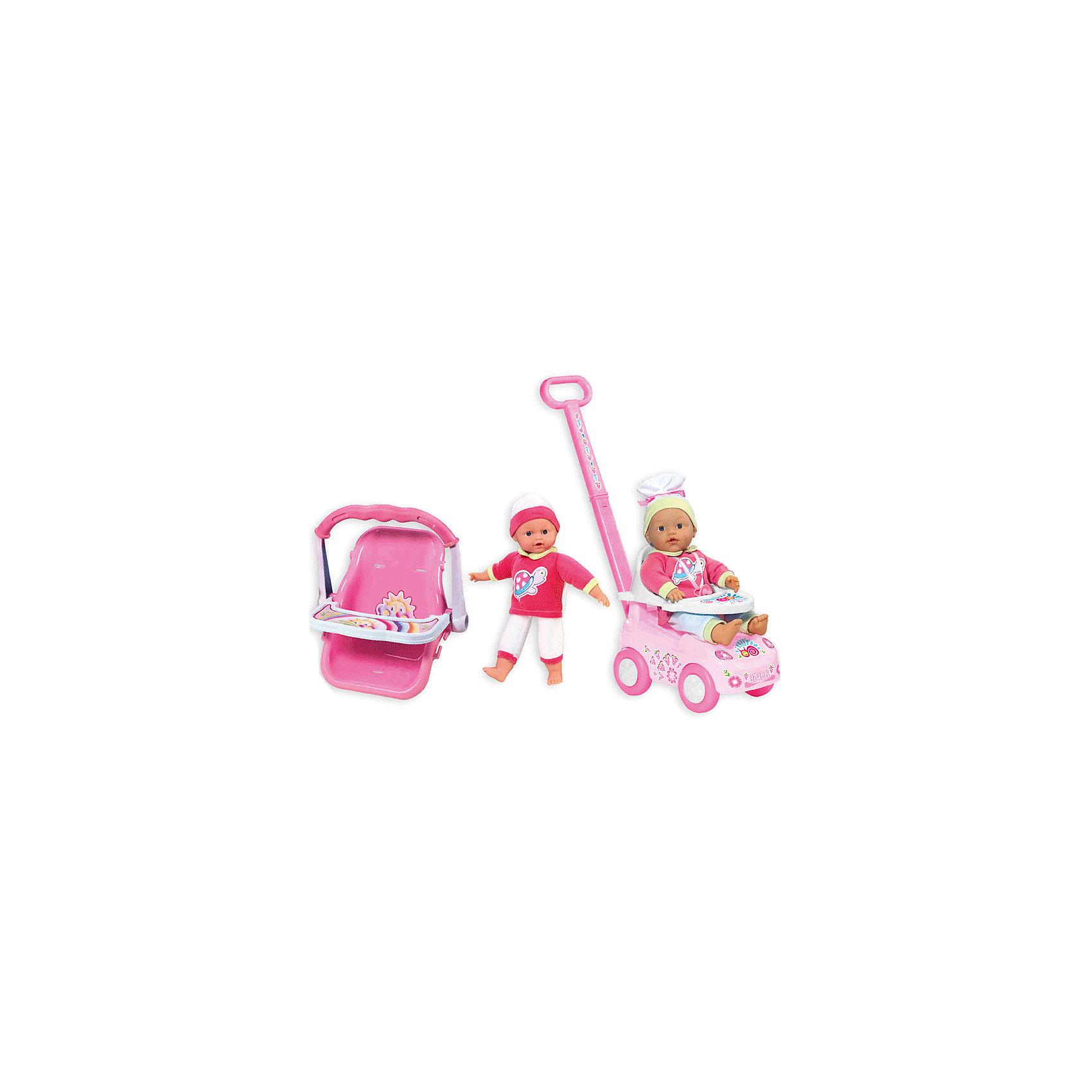 Кукла My Dolly Sucette с каталкой, автокреслом и ходунками, Loko ToysКуклы-пупсы<br>Характеристики товара:<br><br>• возраст: от 1,5 лет;<br>• материал: пластик, текстиль, ПВХ;<br>• в комплекте: 2 куклы, каталка, автокресло, соска;<br>• высота кукол: 30 и 37 см;<br>• размер упаковки: 55,5х39х18,7 см;<br>• вес упаковки: 2 кг;<br>• страна производитель: Китай;<br>• товар представлен в ассортименте, нет возможности выбрать конкретную расцветку.<br><br>Кукла «My Dolly Sucette» Loko Toys с каталкой и автокреслом одета в розовый мягкий костюм и шапочку. В комплекте 2 куклы и дополнительные аксессуары по уходу за пупсом. На каталке можно покатать куклу на прогулке. Для перевозки в автомобиле предусмотрено удобное автокресло со столиком для кормления пупса. Игра с куклой привьет девочке любовь, чувство ответственности, заботы и помощи окружающим. <br><br>Куклу «My Dolly Sucette» Loko Toys с каталкой и автокреслом можно приобрести в нашем интернет-магазине.<br><br>Ширина мм: 555<br>Глубина мм: 187<br>Высота мм: 390<br>Вес г: 2000<br>Возраст от месяцев: 18<br>Возраст до месяцев: 2147483647<br>Пол: Женский<br>Возраст: Детский<br>SKU: 6759069