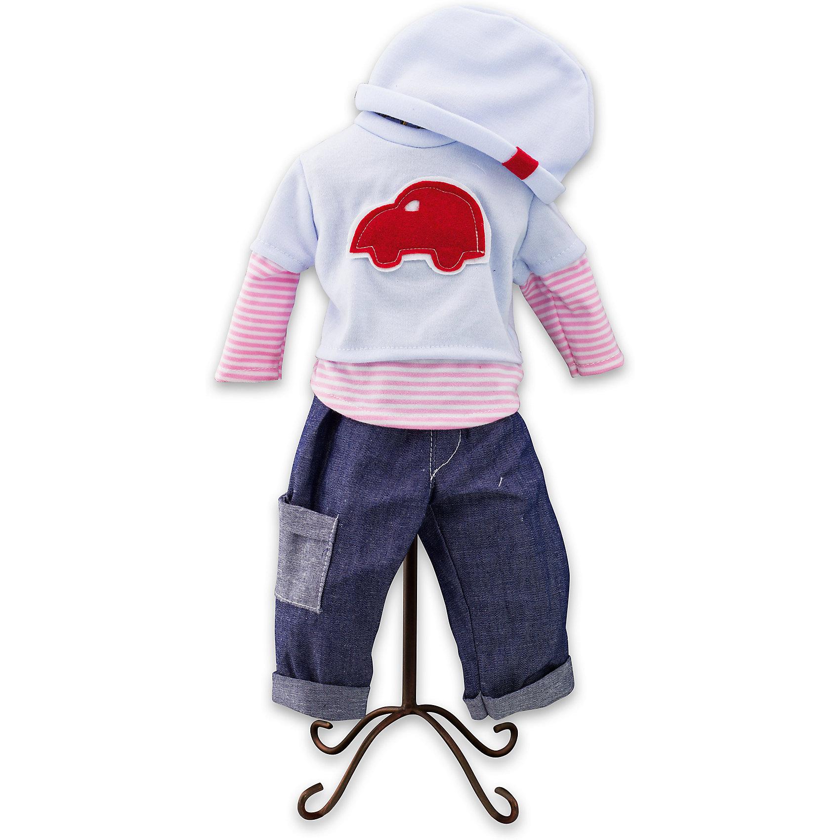 Одежда для куклы мальчика Baby Pink, Loko ToysКукольная одежда и аксессуары<br>Характеристики товара:<br><br>• возраст: от 10 месяцев;<br>• материал: текстиль;<br>• в комплекте: джинсы, кофта, шапка;<br>• размер упаковки: 38х25х2,5 см;<br>• вес упаковки: 225 гр.;<br>• страна производитель: Китай.<br><br>Одежда для куклы-мальчика «Baby Pink» Loko Toys — дополнительный комплект одежды для куклы-мальчика, который дополнит его гардероб. Комплект состоит из стильного свитера с принтом в виде машинки, шапочки и синих джинс. Вся одежда выполнена из качественных материалов.<br><br>Одежду для куклы-мальчика «Baby Pink» Loko Toys можно приобрести в нашем интернет-магазине.<br><br>Ширина мм: 250<br>Глубина мм: 25<br>Высота мм: 380<br>Вес г: 225<br>Возраст от месяцев: 10<br>Возраст до месяцев: 2147483647<br>Пол: Женский<br>Возраст: Детский<br>SKU: 6759073