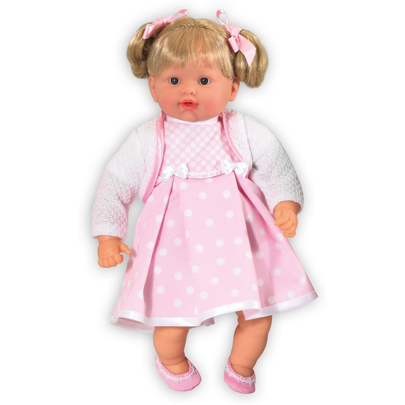 Кукла Baby Pink Девочка, Loko ToysКлассические куклы<br>Характеристики товара:<br><br>• возраст: от 10 месяцев;<br>• материал: пластик, текстиль, ПВХ;<br>• в комплекте: кукла, соска;<br>• высота куклы: 43 см;<br>• тип батареек: 3 батарейки LR44;<br>• наличие батареек: в комплекте;<br>• размер упаковки: 44х33х12,5 см;<br>• вес упаковки: 940 гр.;<br>• страна производитель: Китай.<br><br>Кукла-девочка «Baby Pink» Loko Toys одета в розовое платье в горошек и болеро. Кукла умеет произносить звуки младенца и плакать. Если пупс заплакал, заботливая девочка может дать ему соску, покачать на ручках и успокоить. Игра с куклой привьет девочке любовь, чувство ответственности, заботы и помощи окружающим. <br><br>Куклу-девочку «Baby Pink» Loko Toys можно приобрести в нашем интернет-магазине.<br><br>Ширина мм: 330<br>Глубина мм: 125<br>Высота мм: 440<br>Вес г: 940<br>Возраст от месяцев: 10<br>Возраст до месяцев: 2147483647<br>Пол: Женский<br>Возраст: Детский<br>SKU: 6759074