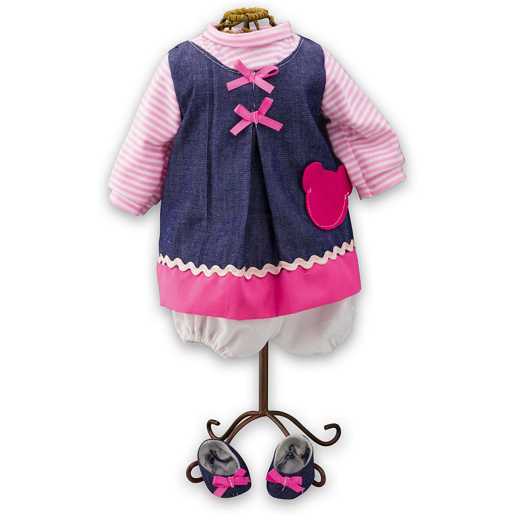 Одежда для куклы девочки Baby Pink, Loko ToysОдежда для кукол<br>Характеристики товара:<br><br>• возраст: от 10 месяцев;<br>• материал: текстиль;<br>• в комплекте: платье, туфли;<br>• размер упаковки: 38х25х2,5 см;<br>• вес упаковки: 225 гр.;<br>• страна производитель: Китай.<br><br>Одежда для куклы-девочки «Baby Pink» Loko Toys — дополнительный комплект одежды для куклы, который дополнит ее гардероб. Комплект состоит из яркого платья с кармашком и джинсовых туфелек. Вся одежда выполнена из качественных материалов.<br><br>Одежду для куклы-девочки «Baby Pink» Loko Toys можно приобрести в нашем интернет-магазине.<br><br>Ширина мм: 250<br>Глубина мм: 55<br>Высота мм: 380<br>Вес г: 225<br>Возраст от месяцев: 10<br>Возраст до месяцев: 2147483647<br>Пол: Женский<br>Возраст: Детский<br>SKU: 6759075