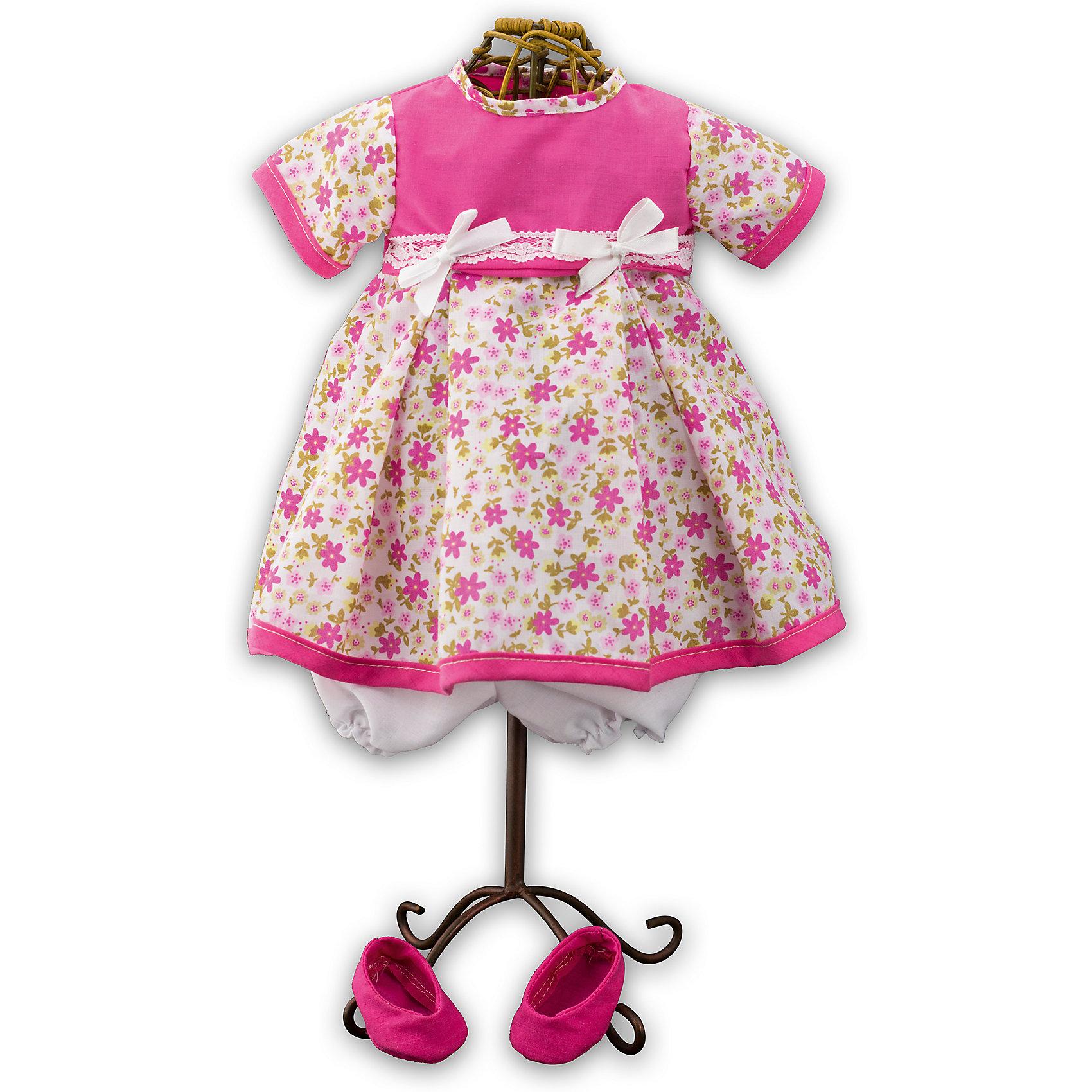 Одежда для куклы девочки Baby Pink, Loko ToysКукольная одежда и аксессуары<br>Характеристики товара:<br><br>• возраст: от 10 месяцев;<br>• материал: текстиль;<br>• в комплекте: платье, туфли;<br>• размер упаковки: 38х25х2,5 см;<br>• вес упаковки: 225 гр.;<br>• страна производитель: Китай.<br><br>Одежда для куклы-девочки «Baby Pink» Loko Toys — дополнительный комплект одежды для куклы, который дополнит ее гардероб. Комплект состоит из розового платья с цветочным принтом, украшенного бантиками, и розовых туфелек. Вся одежда выполнена из качественных материалов.<br><br>Одежду для куклы-девочки «Baby Pink» Loko Toys можно приобрести в нашем интернет-магазине.<br><br>Ширина мм: 250<br>Глубина мм: 55<br>Высота мм: 380<br>Вес г: 225<br>Возраст от месяцев: 10<br>Возраст до месяцев: 2147483647<br>Пол: Женский<br>Возраст: Детский<br>SKU: 6759076