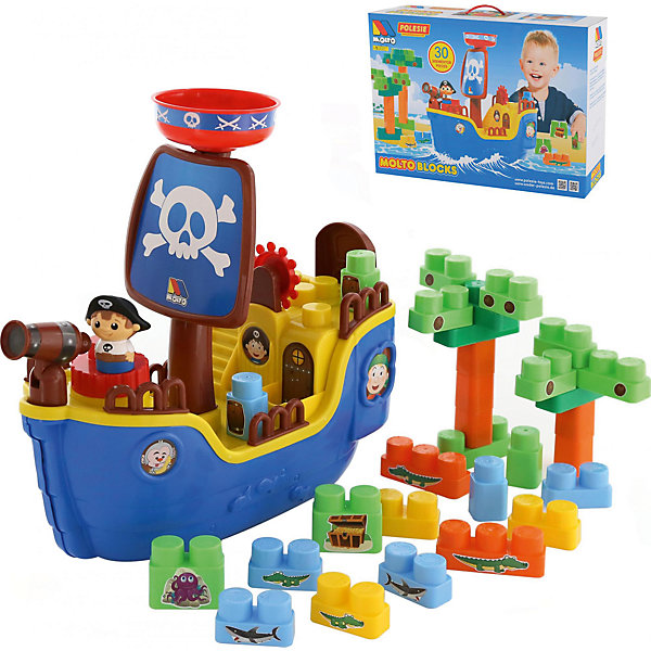 Конструктор Пиратский корабль, 30 деталей, ПолесьеПластмассовые конструкторы<br>Характеристики товара:<br><br>• возраст: от 3 лет<br>• количество деталей: 30 шт<br>• в наборе: корабль, детали конструктора, 1 фигурка<br>• материал: пластик<br>• размер упаковки: 59х16.5х39.5 см.<br>• упаковка: картонная коробка<br>• страна бренда: Беларусь<br><br>Игровой набор Пиратский корабль из серии Molto Blocks от бренда Полесье включает в себя корабль, фигурку пирата и конструктор из 30 деталей. <br><br>Из деталей конструктора можно собрать пальму. На корабле вращается рулевое колесо и поворачивается из стороны в сторону подзорная труба. Многие детали конструктора украшены различными наклейками, изображающими морских обитателей или сундук с кладом. <br><br>Конструктор Пиратский корабль, 30 деталей, Полесье можно купить в нашем интернет-магазине.<br><br>Ширина мм: 590<br>Глубина мм: 165<br>Высота мм: 395<br>Вес г: 1754<br>Возраст от месяцев: -2147483648<br>Возраст до месяцев: 2147483647<br>Пол: Мужской<br>Возраст: Детский<br>SKU: 6760713