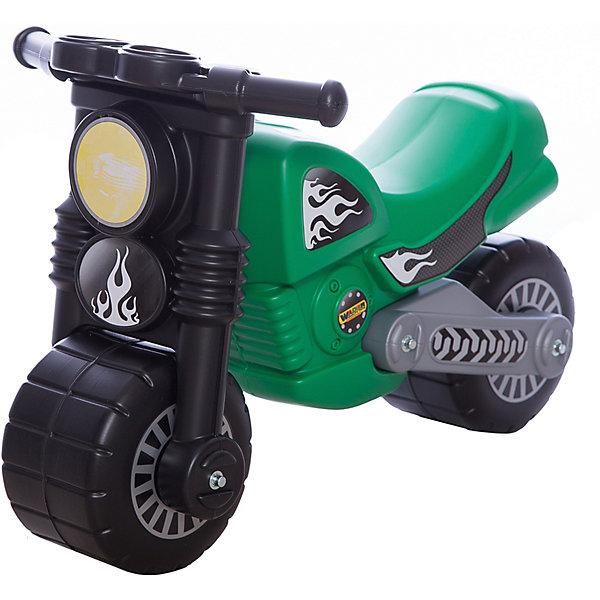 Мотоцикл Моторбайк, зелёный, ПолесьеКаталки для малышей<br>Характеристики товара:<br><br>• для детей от 2 до 5 лет<br>• каталка Моторбайк не оборудована сигналом<br>• максимальная нагрузка: 50 кг<br>• высота сидения от пола: 28 см<br>• длина байка 64 см<br>• размеры (см): 63 x 37,5 x 44<br>• вес (кг): 3,3<br>• страна бренда: Беларусь<br><br>Устойчивая каталка мотоцикл для детей от Полесье. Яркие наклейки, широкие колеса, надежная конструкция и стильный дизайн. Приборная панель прямо как у настоящего байка - спидометр и показатель уровня топлива.<br><br>Ребенок катается на каталке мотоцикле отталкиваясь ногами. Эргономичное сиденье рассчитано на продолжительные прогулки. Легкая прочная пластмасса гарантирует небольшой вес каталки.<br><br>Приятным сюрпризом для юного байкера будет звук, который каталка издает при езде по ровной поверхности - это урчание, подобно мотору настоящего мотоцикла.<br><br>Мотоцикл Моторбайк, зелёный, Полесье можно купить в нашем интернет-магазине.<br>Ширина мм: 630; Глубина мм: 375; Высота мм: 440; Вес г: 2614; Возраст от месяцев: 36; Возраст до месяцев: 2147483647; Пол: Унисекс; Возраст: Детский; SKU: 6760759;