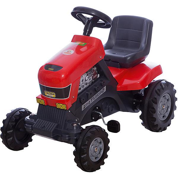 Каталка-трактор с педалями Turbo, ПолесьеМашинки-каталки<br>Характеристики товара:<br><br>• возраст: от 3 лет<br>• допустимый вес эксплуатации: 50 кг.<br>• материал: пластик, металл, резина.<br>• размер упаковки: 85 x 55 x 80 см.<br>• размер игрушки: 82 x 50 x 70 см. <br>• высота сиденья: 41 см.<br>• высота руля: 67 см.<br>• ширина колесной базы: 48 см.<br>• дорожный просвет: 8 см.<br>• страна бренда: Беларусь.<br><br>Трактор приводится в движение вращением педалей. Благодаря широким колесам с резиновыми накладками, игрушечный агрегат едва ли уступит в проходимости настоящему: он может ездить по грунту, камням, траве и песку. <br><br>Цепной привод подведен к массивным задним колесам, а небольшие передние колеса, соединенные с рулем, обеспечивают трактору высокую маневренность. Прочный пластиковый корпус выдерживает вес до 50 кг. <br><br>В руль встроен вполне функциональный клаксон. <br><br>Внимание! Цвет корпуса может отличаться от представленного на изображении.<br><br>Каталку-трактор с педалями Turbo, Полесье можно купить в нашем интернет-магазине.<br>Ширина мм: 820; Глубина мм: 490; Высота мм: 665; Вес г: 7473; Возраст от месяцев: 36; Возраст до месяцев: 2147483647; Пол: Унисекс; Возраст: Детский; SKU: 6760760;