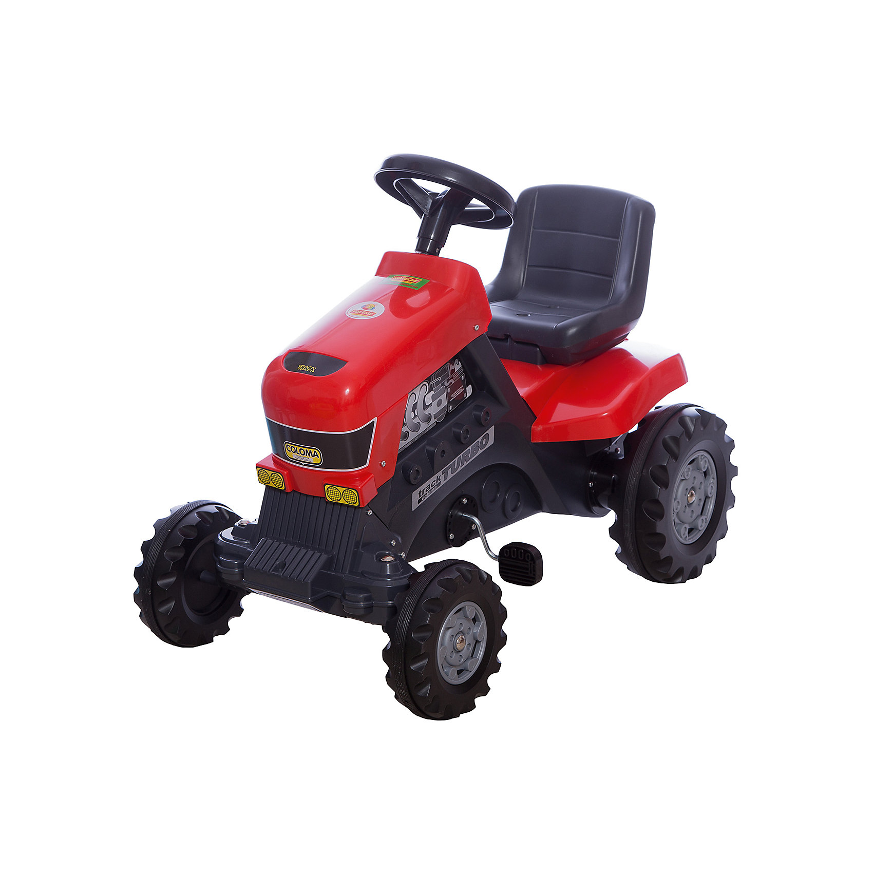 Каталка-трактор с педалями Turbo, ПолесьеМашинки-каталки<br>Характеристики товара:<br><br>• возраст: от 3 лет<br>• допустимый вес эксплуатации: 50 кг.<br>• материал: пластик, металл, резина.<br>• размер упаковки: 85 x 55 x 80 см.<br>• размер игрушки: 82 x 50 x 70 см. <br>• высота сиденья: 41 см.<br>• высота руля: 67 см.<br>• ширина колесной базы: 48 см.<br>• дорожный просвет: 8 см.<br>• страна бренда: Беларусь.<br><br>Трактор приводится в движение вращением педалей. Благодаря широким колесам с резиновыми накладками, игрушечный агрегат едва ли уступит в проходимости настоящему: он может ездить по грунту, камням, траве и песку. <br><br>Цепной привод подведен к массивным задним колесам, а небольшие передние колеса, соединенные с рулем, обеспечивают трактору высокую маневренность. Прочный пластиковый корпус выдерживает вес до 50 кг. <br><br>В руль встроен вполне функциональный клаксон. <br><br>Внимание! Цвет корпуса может отличаться от представленного на изображении.<br><br>Каталку-трактор с педалями Turbo, Полесье можно купить в нашем интернет-магазине.<br><br>Ширина мм: 820<br>Глубина мм: 490<br>Высота мм: 665<br>Вес г: 7473<br>Возраст от месяцев: 36<br>Возраст до месяцев: 2147483647<br>Пол: Унисекс<br>Возраст: Детский<br>SKU: 6760760